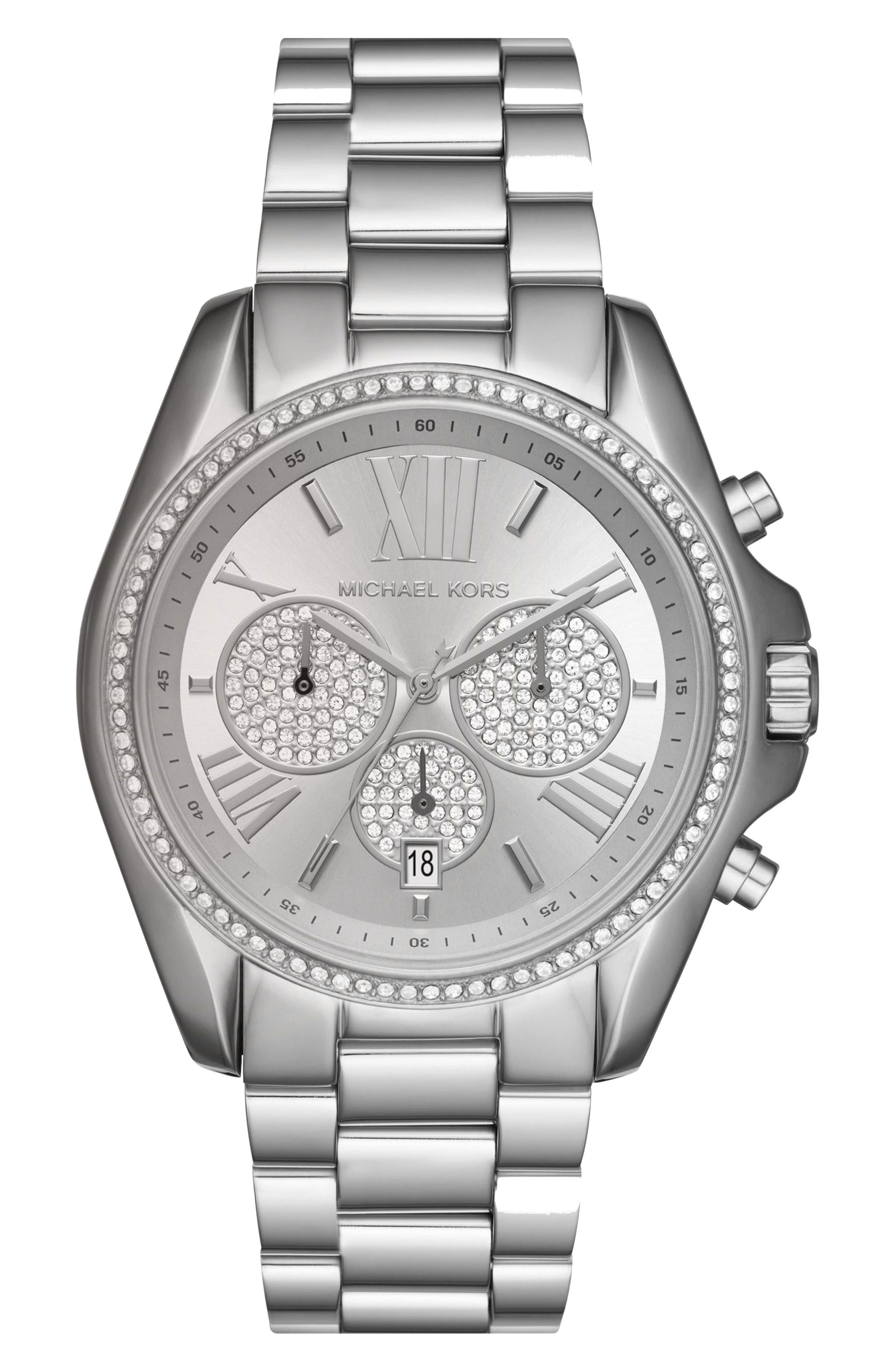 Bradshaw Crystal Pavé Chronograph Bracelet Watch, 43mm,                         Main,                         color,