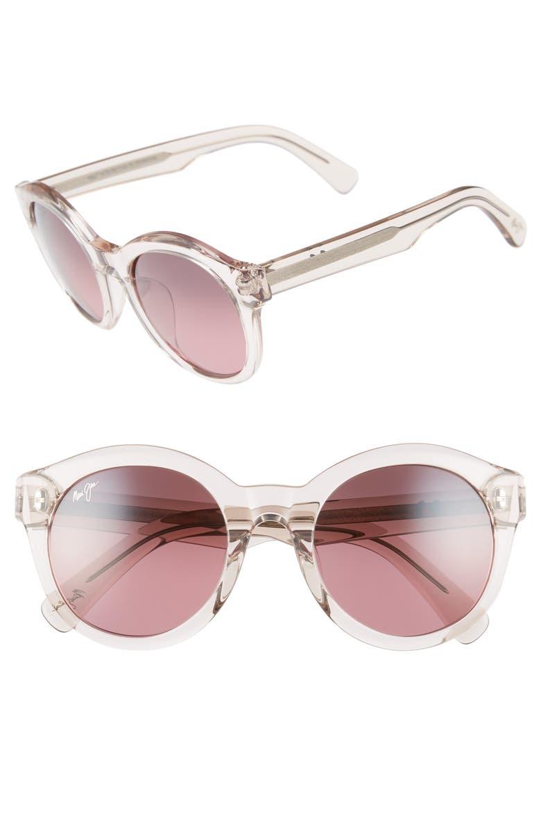 Jasmine 51mm PolarizedPlus2<sup>®</sup> Round Sunglasses,                         Main,                         color, CRYSTAL PINK/ MAUI ROSE
