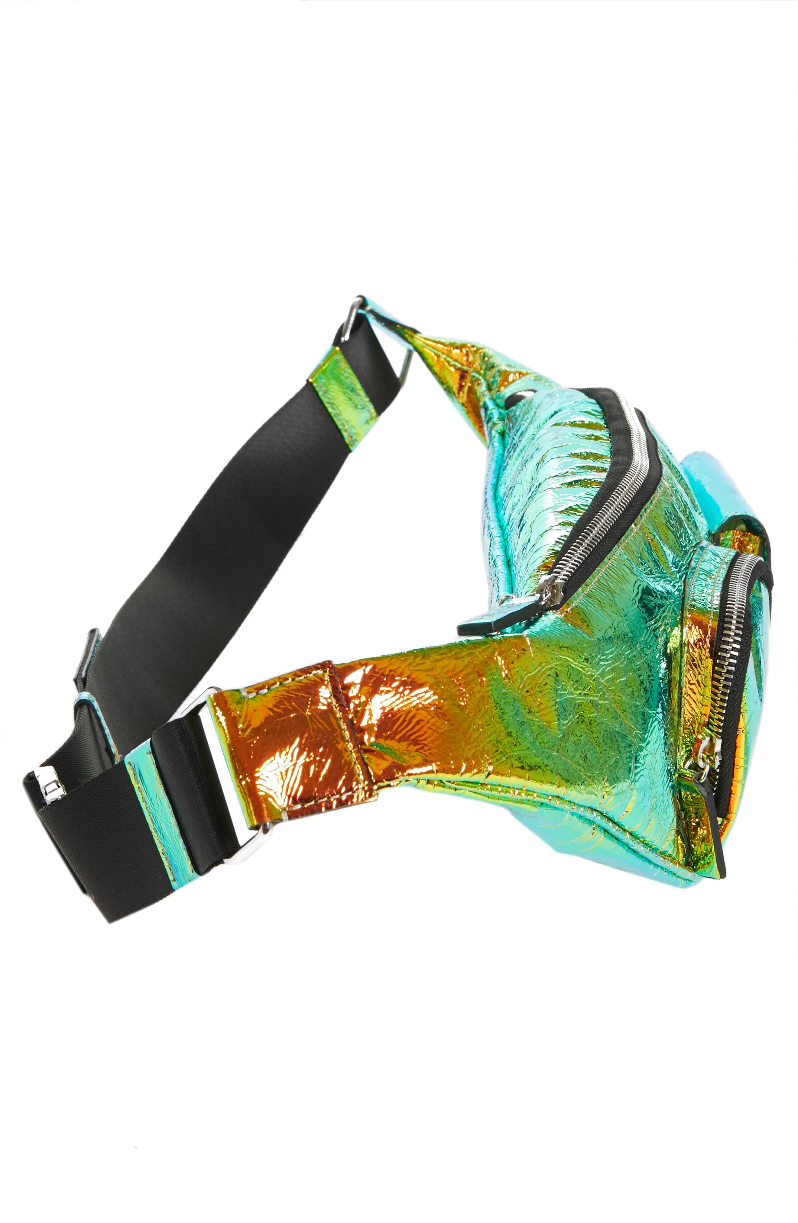 Major Hologram Convertible Belt Bag,                             Alternate thumbnail 5, color,                             BLACK HOLOGRAPHIC
