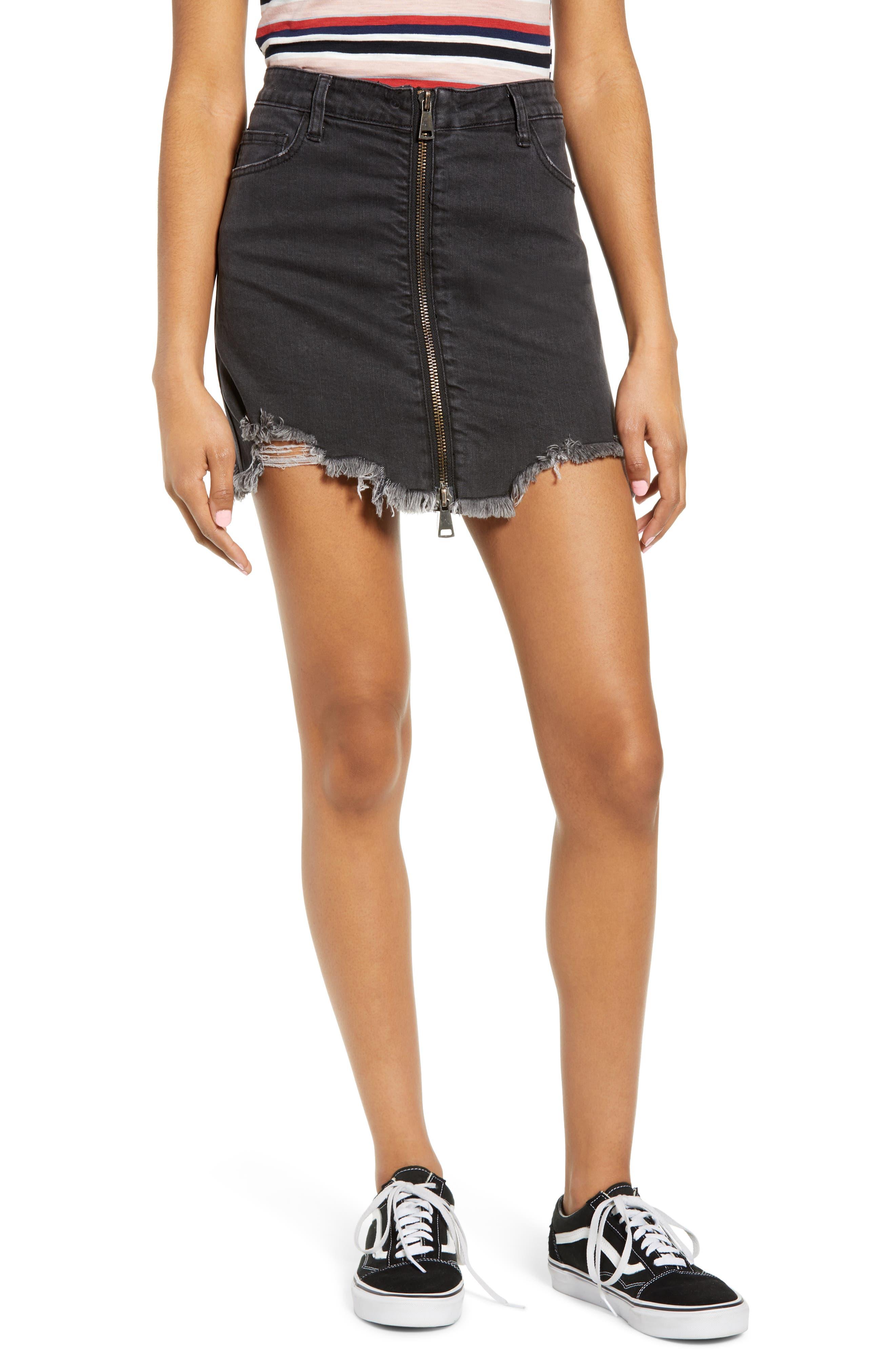 Cobra Ripped Denim Skirt, Main, color, BLACK