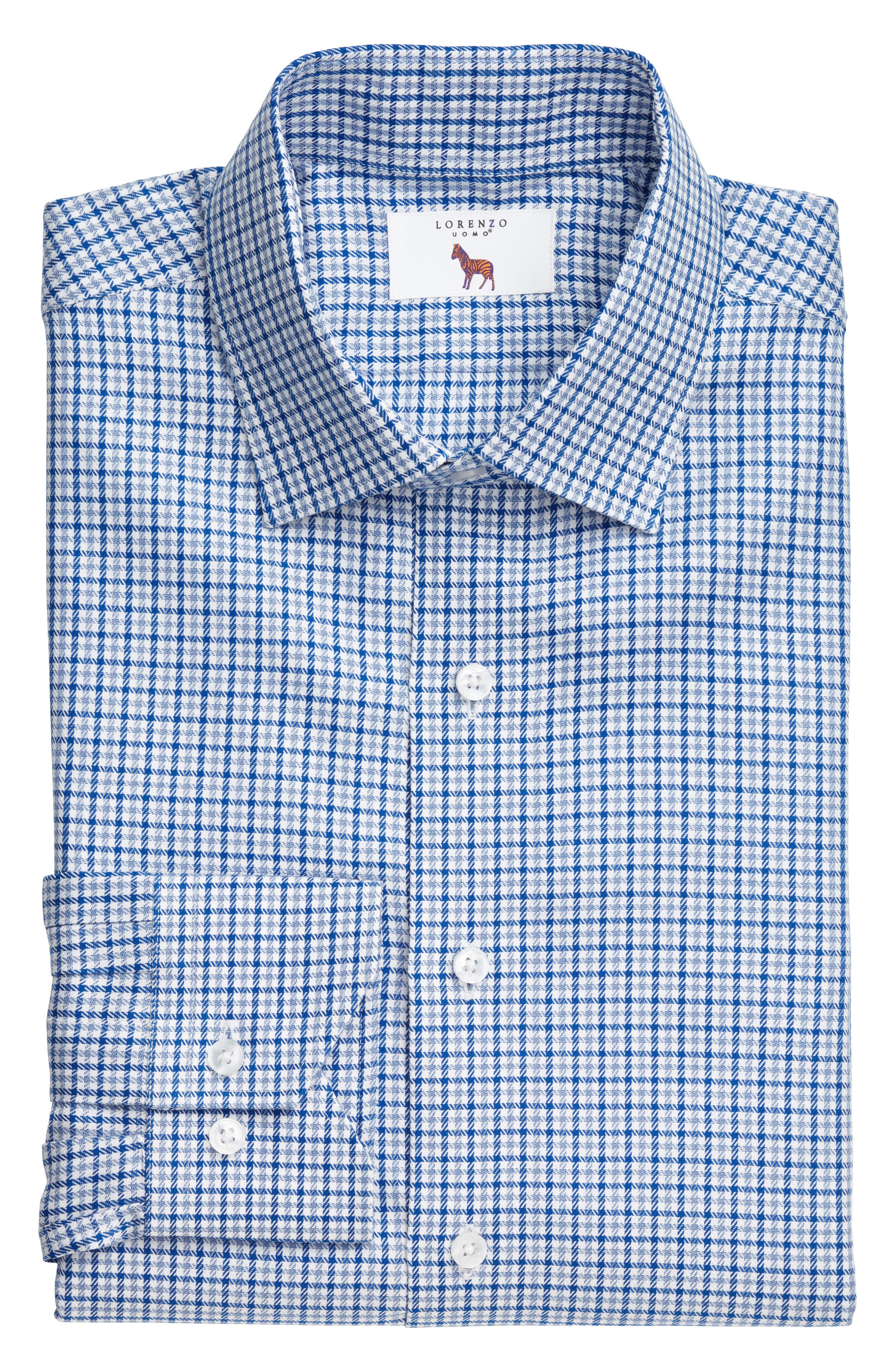 LORENZO UOMO,                             Trim Fit Textured Check Dress Shirt,                             Alternate thumbnail 3, color,                             410