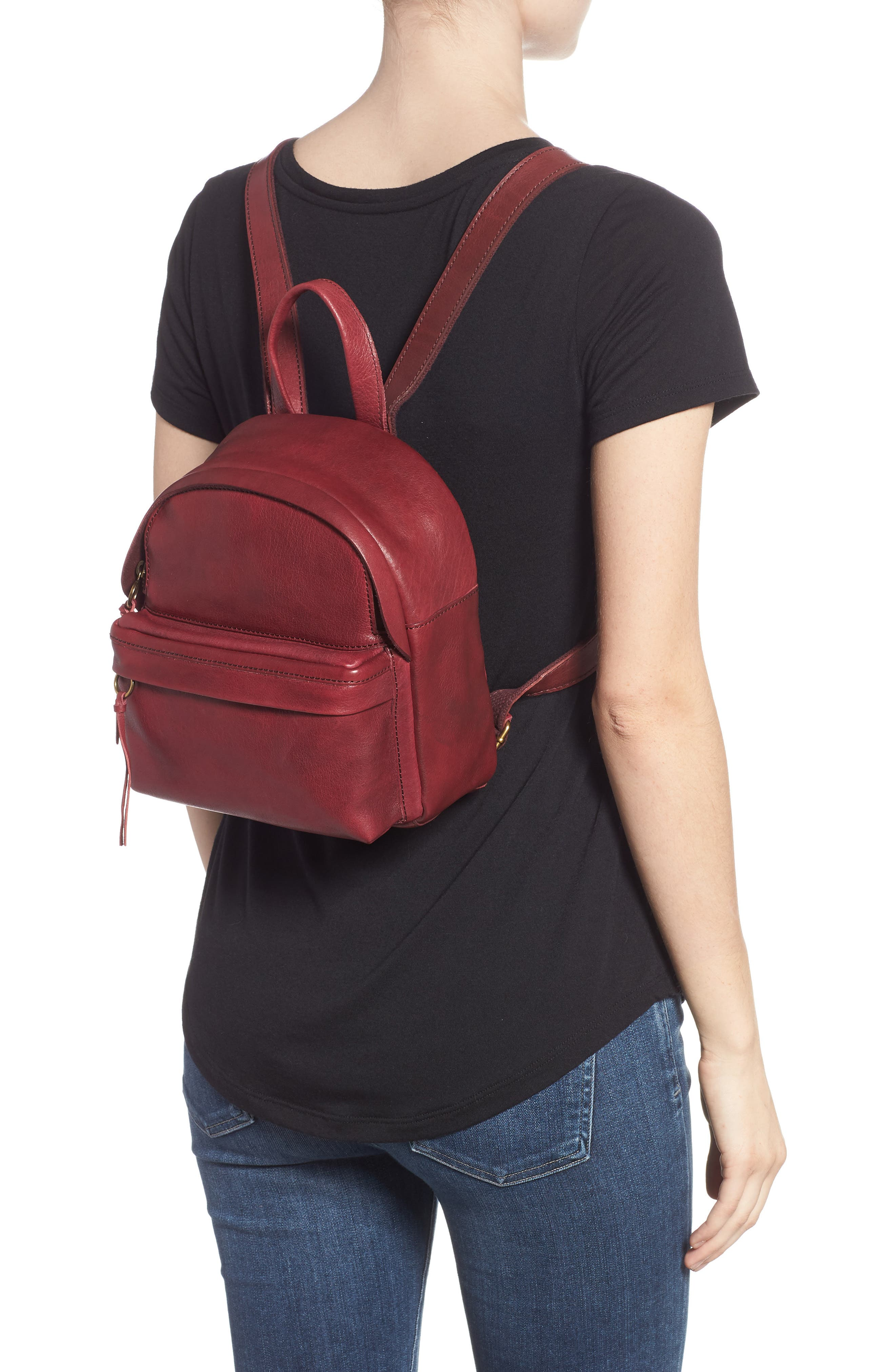 Mini Lorimer Leather Backpack,                             Alternate thumbnail 2, color,                             DARK CABERNET