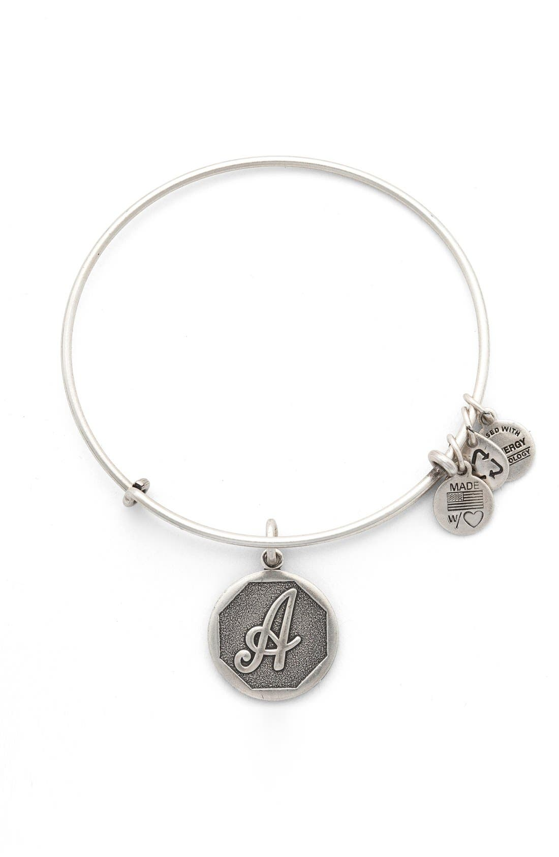 'Initial' Adjustable Wire Bangle,                             Main thumbnail 2, color,