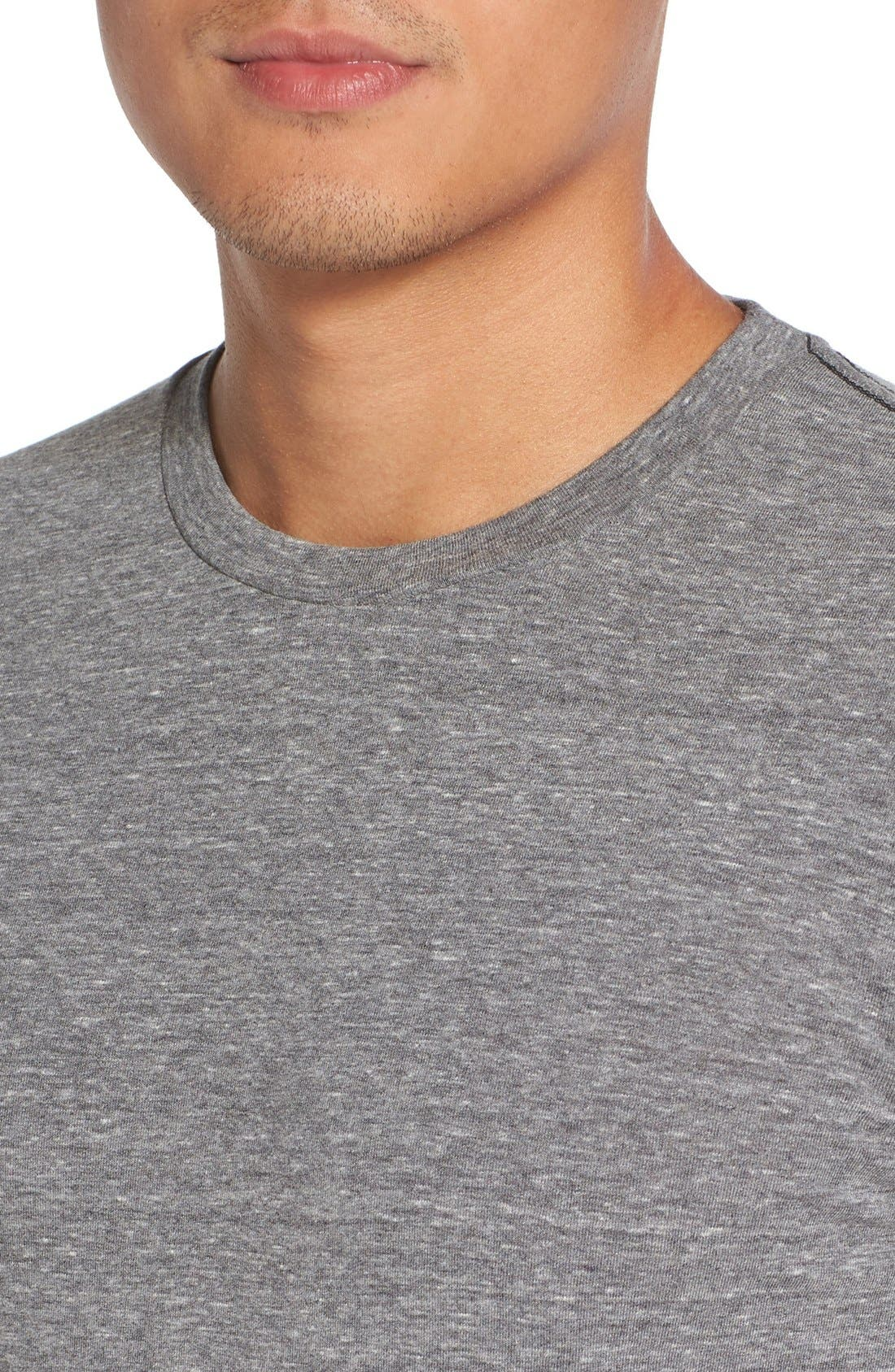 Triblend Scallop Crewneck T-Shirt,                             Alternate thumbnail 5, color,                             HEATHER GREY