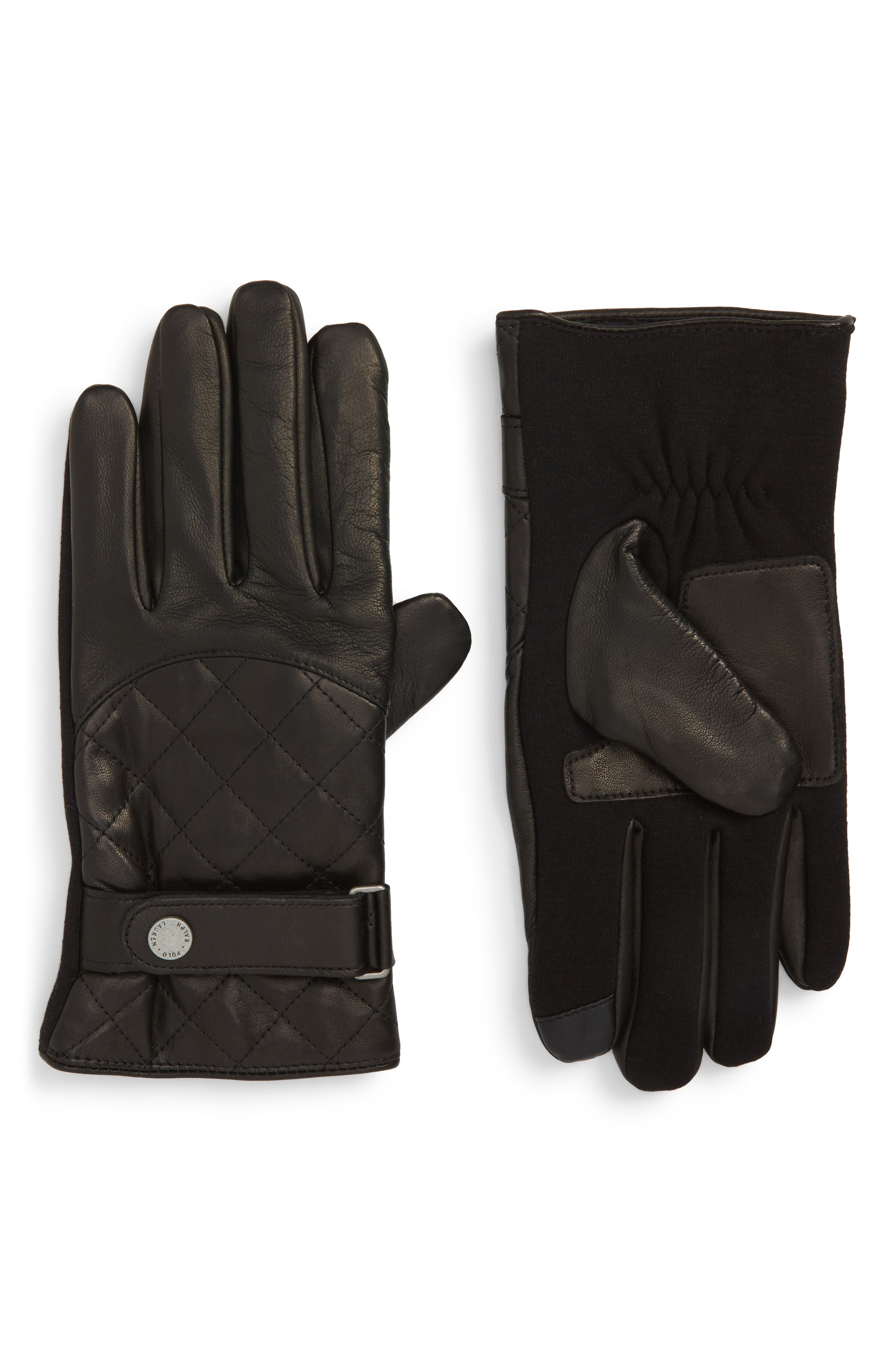 Polo Ralph Lauren Quilted Leather Gloves, Black
