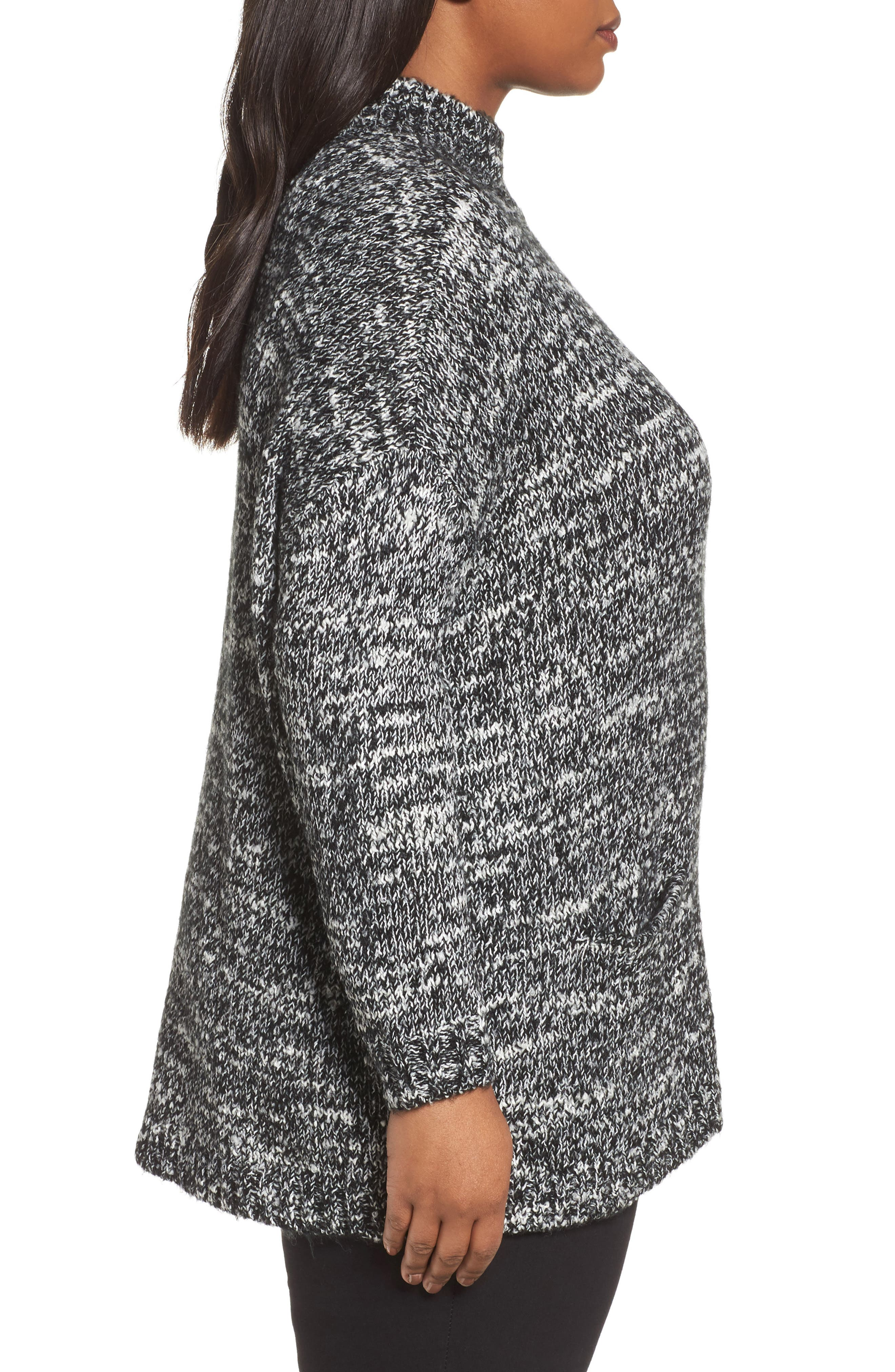 Mock Neck Knit Sweater,                             Alternate thumbnail 3, color,                             001