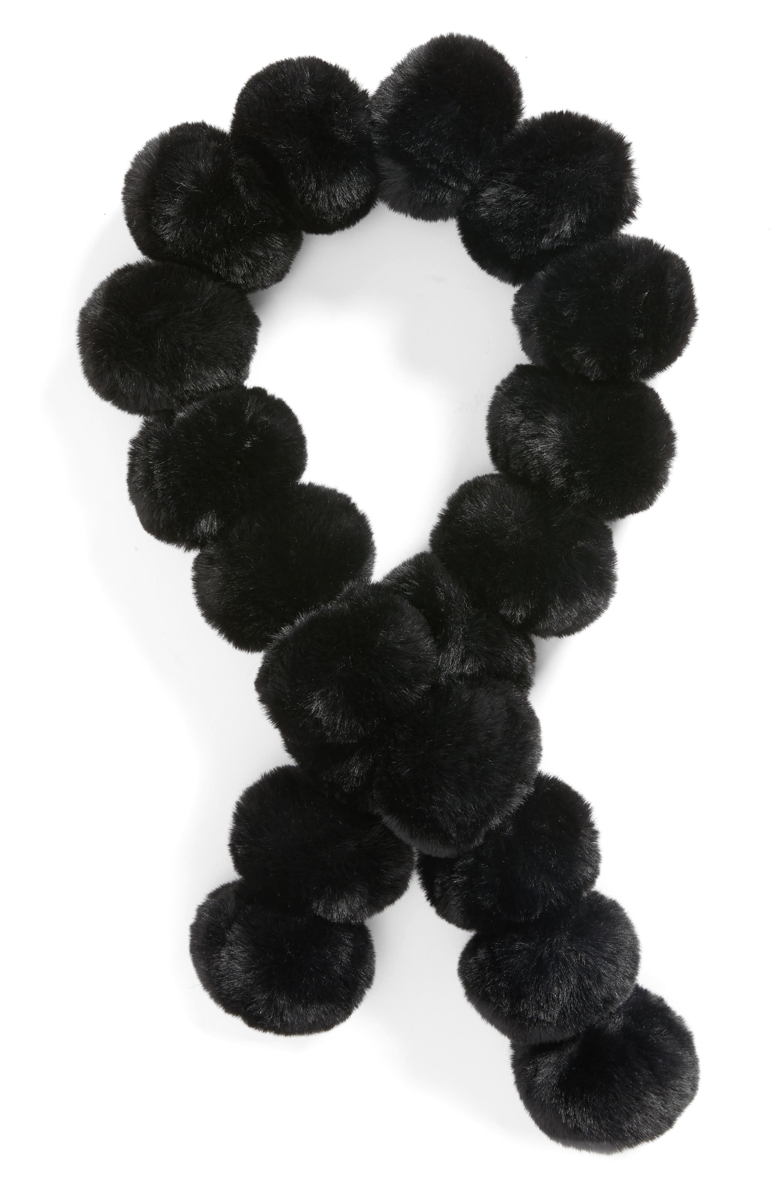 Faux Fur Pom Scarf,                             Alternate thumbnail 2, color,                             001