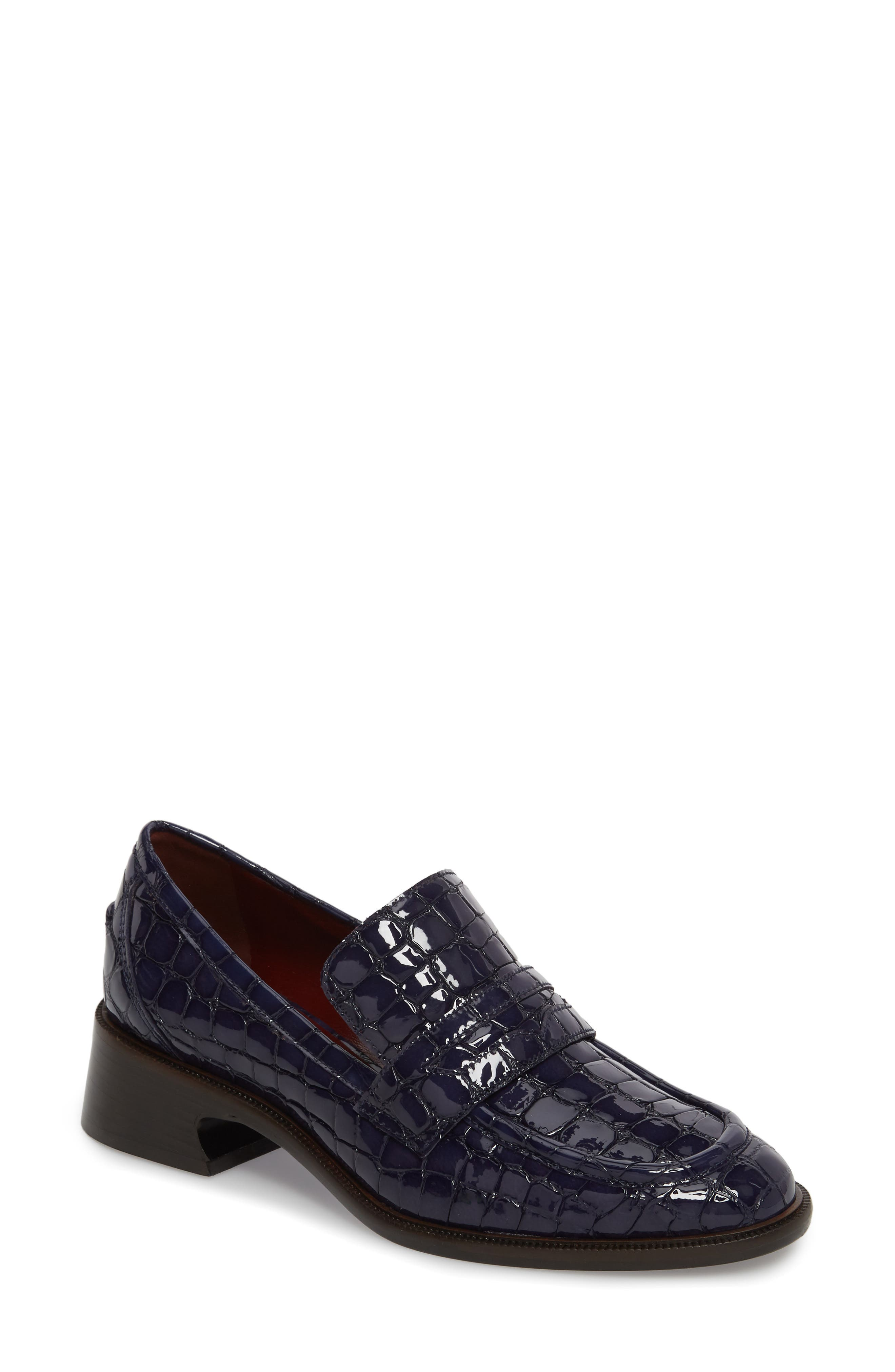 Croc Embossed Loafer,                             Main thumbnail 1, color,                             NAVY
