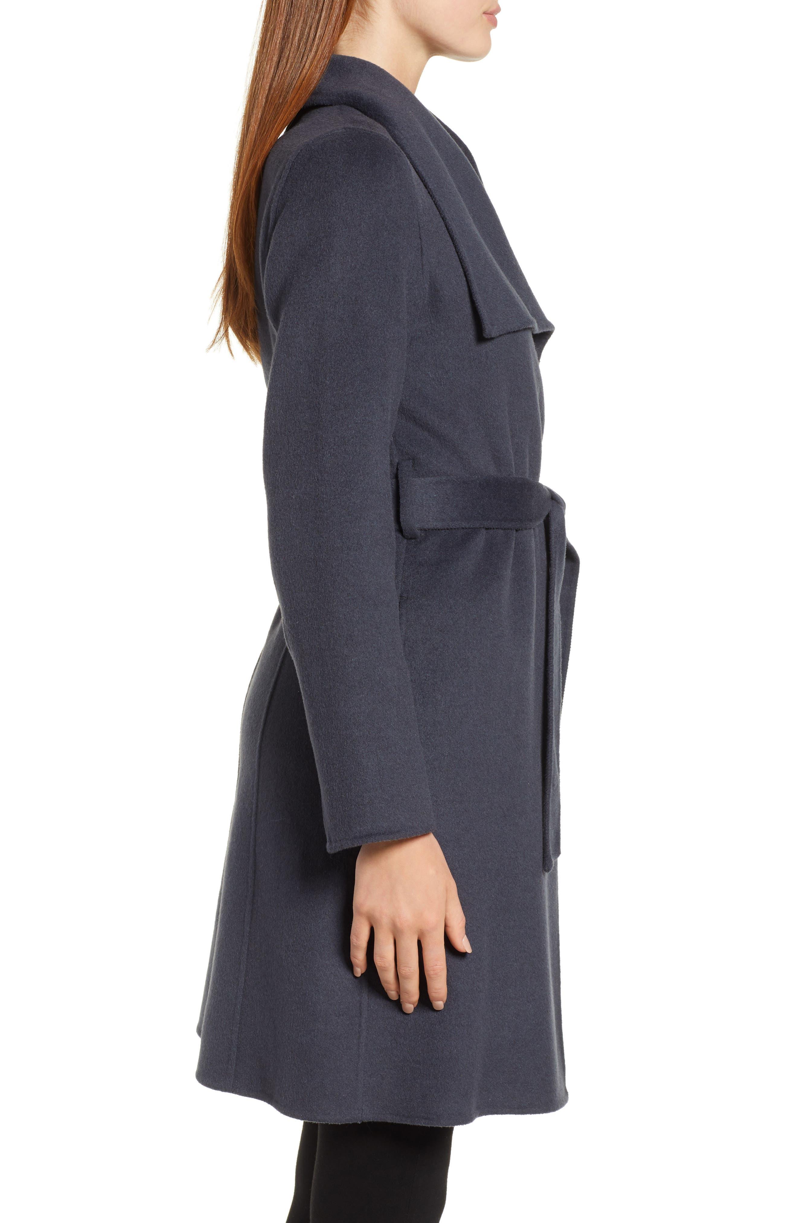 Ellie Double Face Wool Blend Wrap Coat,                             Alternate thumbnail 3, color,                             020