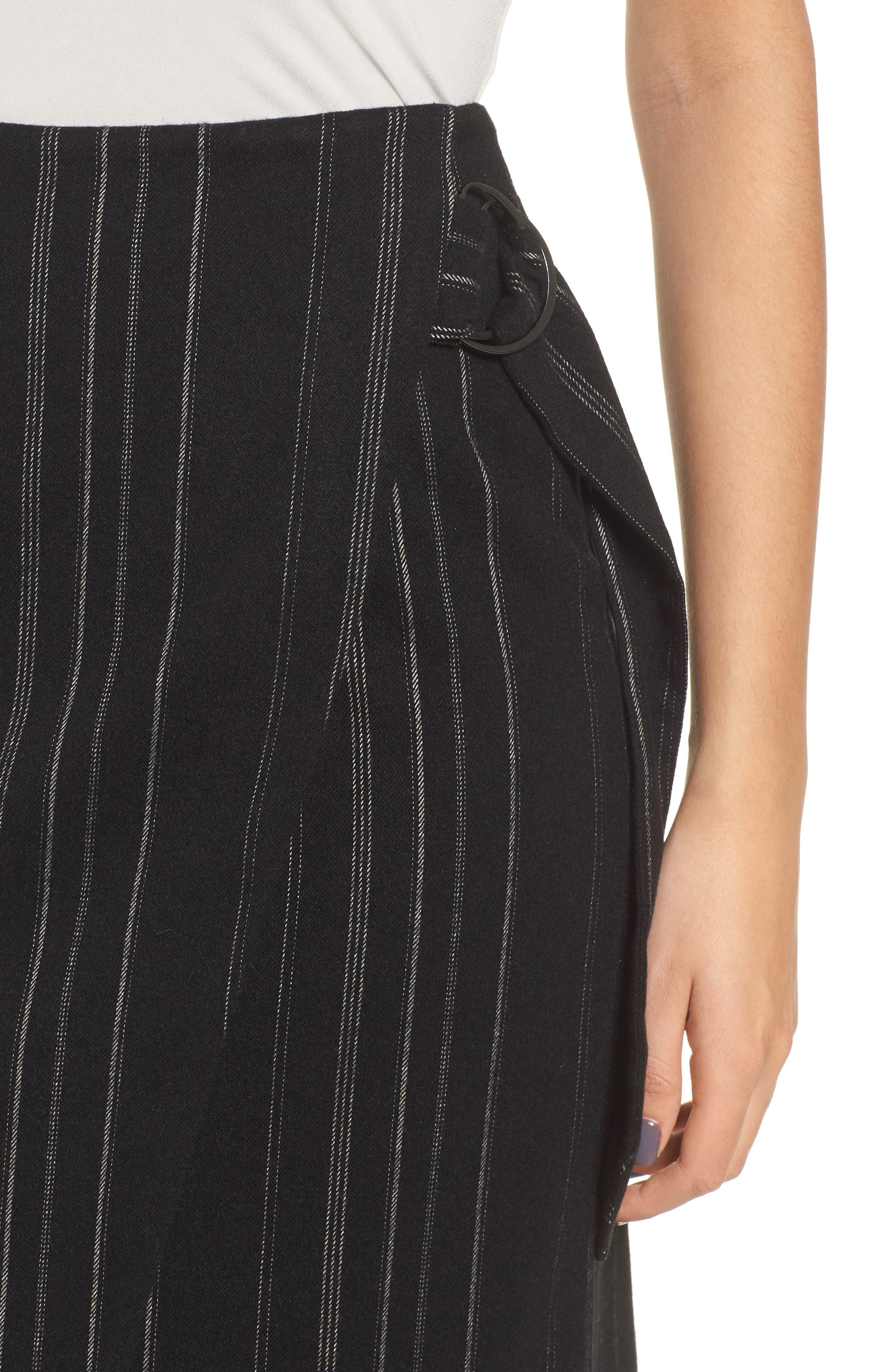 Side Tie Midi Skirt,                             Alternate thumbnail 4, color,                             001
