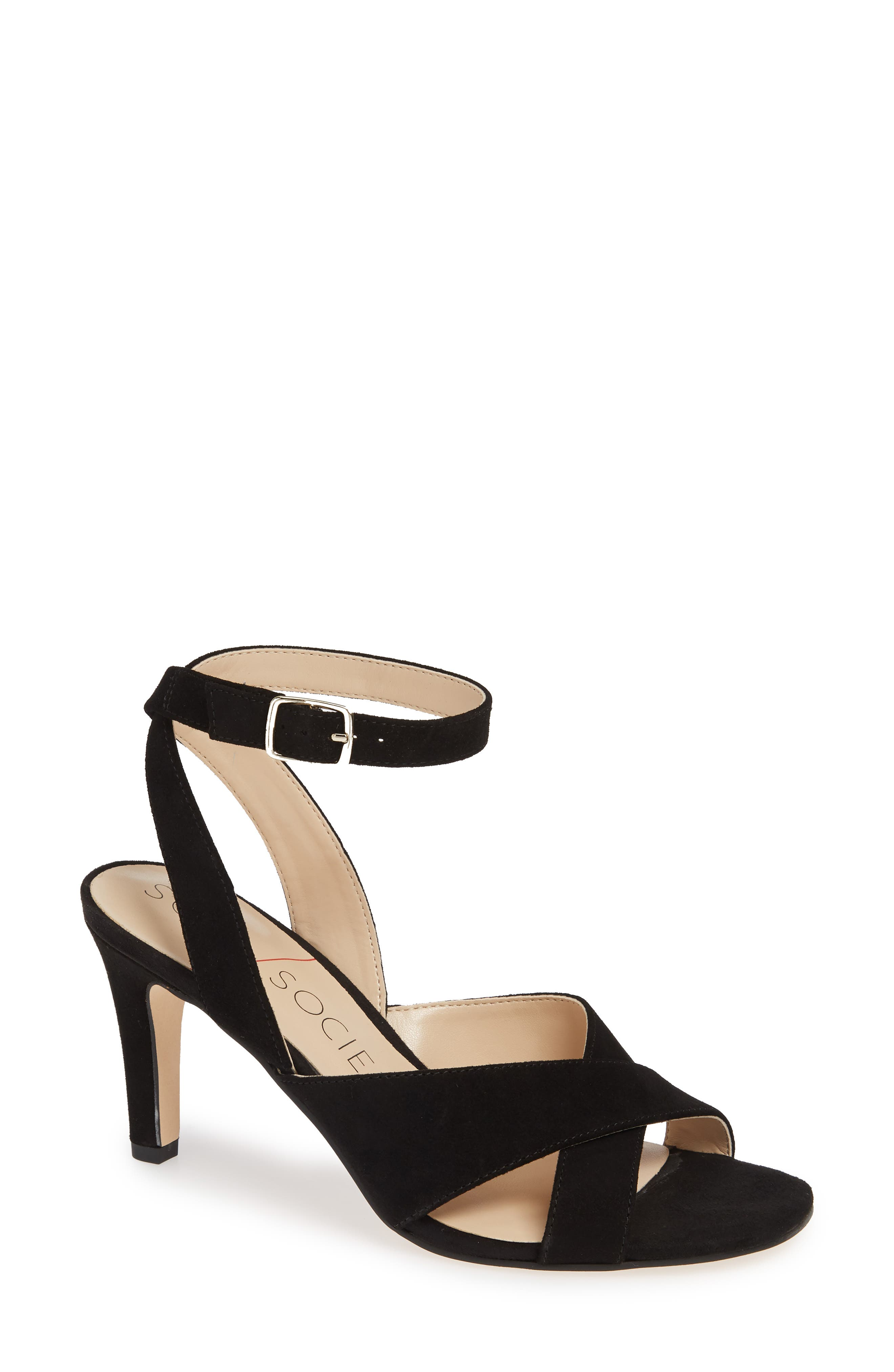 Sole Society Cassidea Ankle Strap Sandal, Black