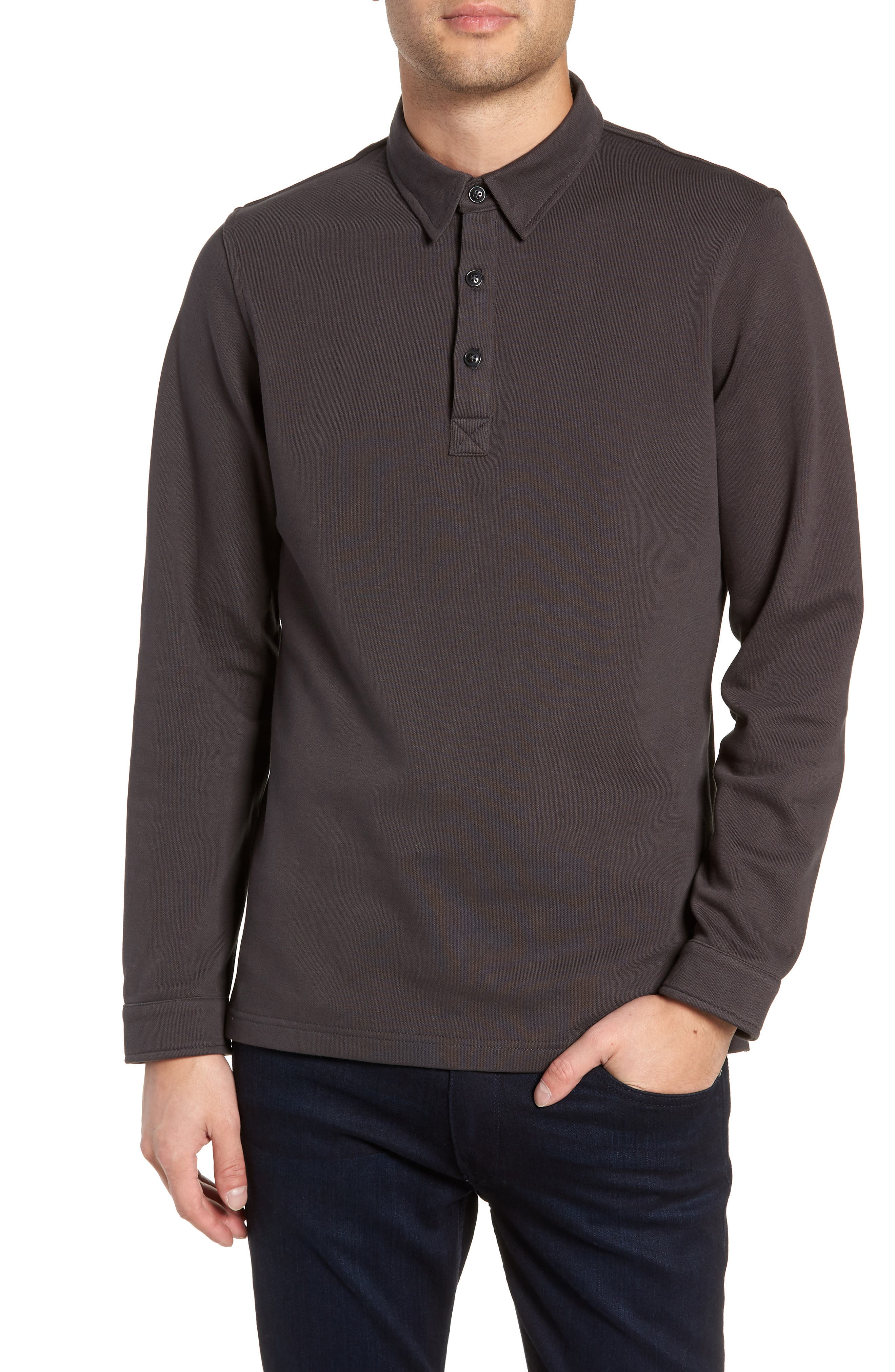 Texture Trim Fit Long Sleeve Polo,                             Main thumbnail 1, color,                             081