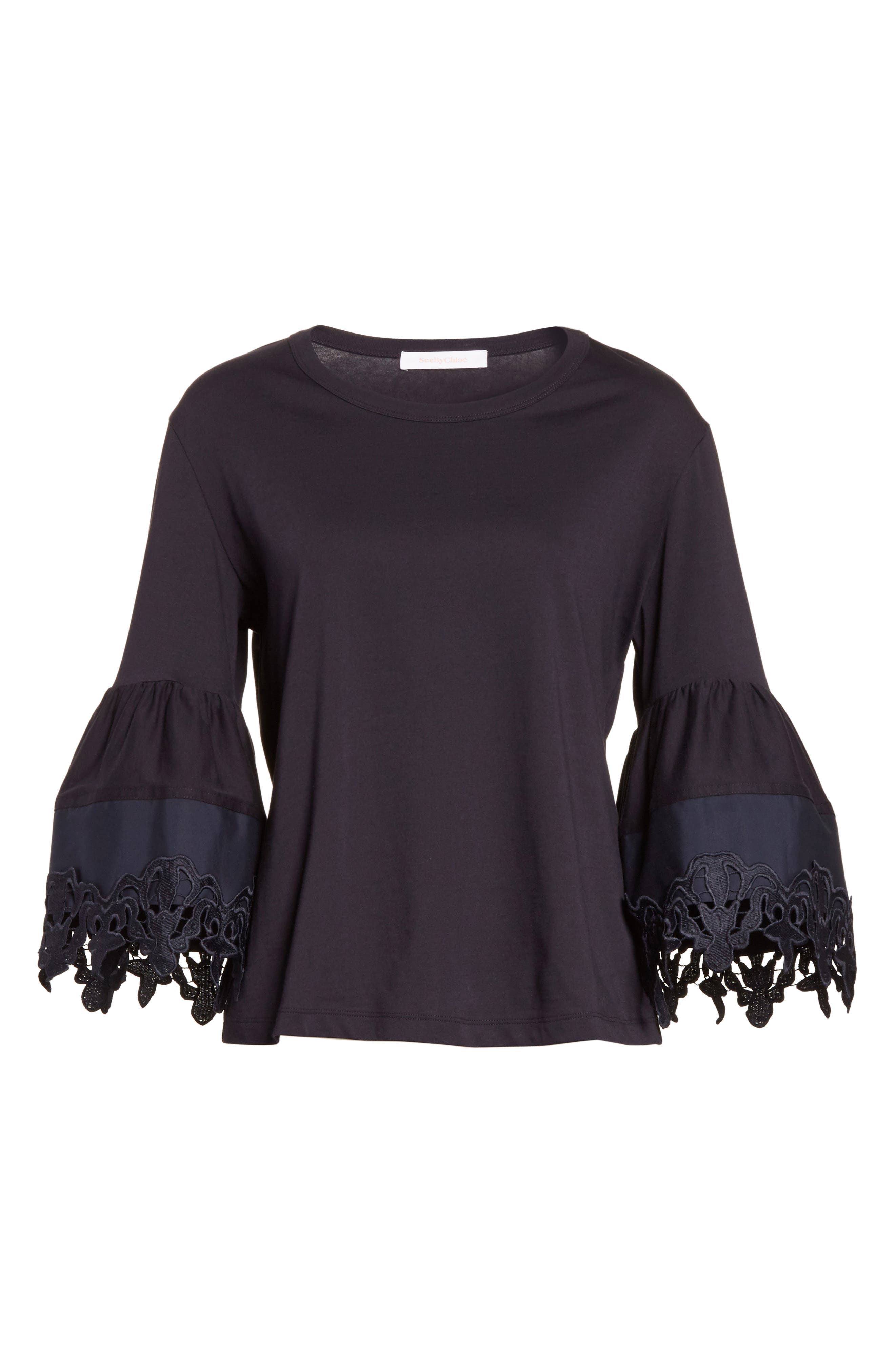 Lace Trim Bell Sleeve Top,                             Alternate thumbnail 6, color,                             001