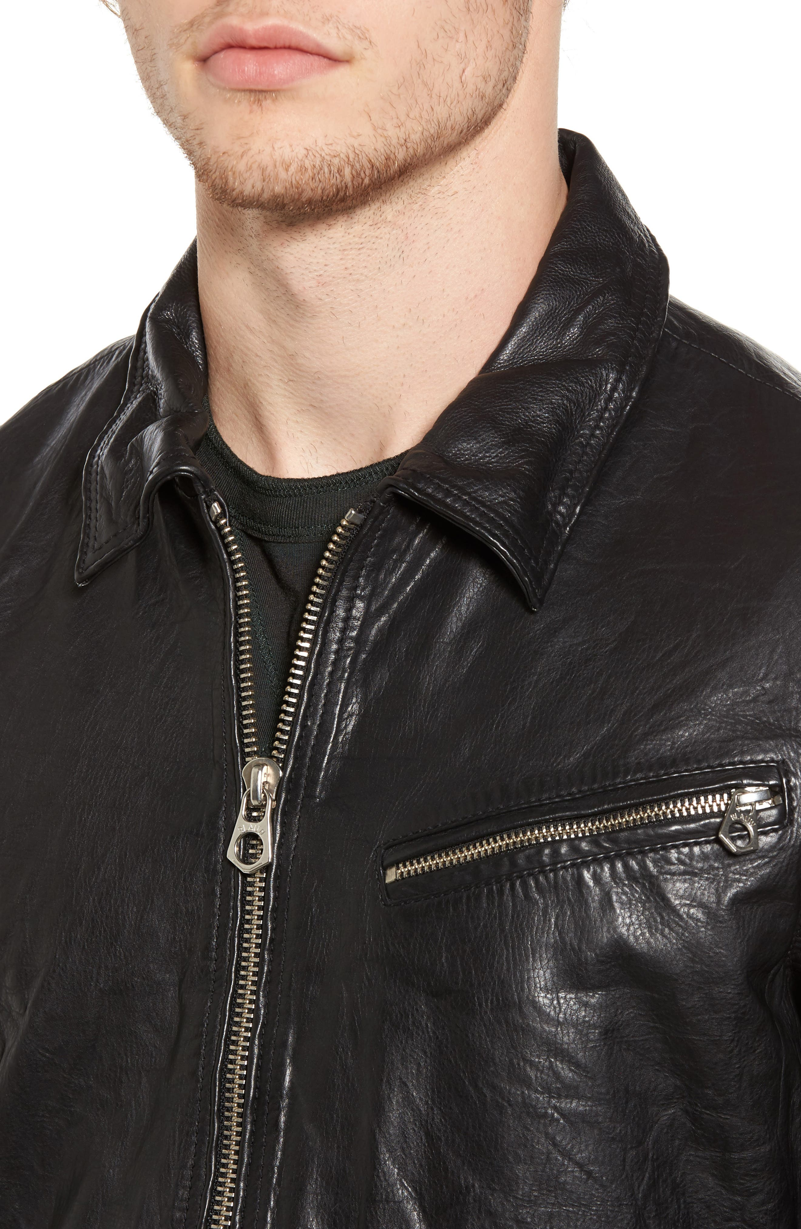Lightweight Washed Leather Jacket,                             Alternate thumbnail 4, color,
