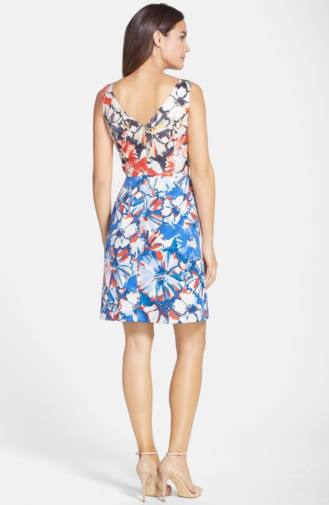 Floral Print Fit & Flare Dress,                             Alternate thumbnail 2, color,                             405