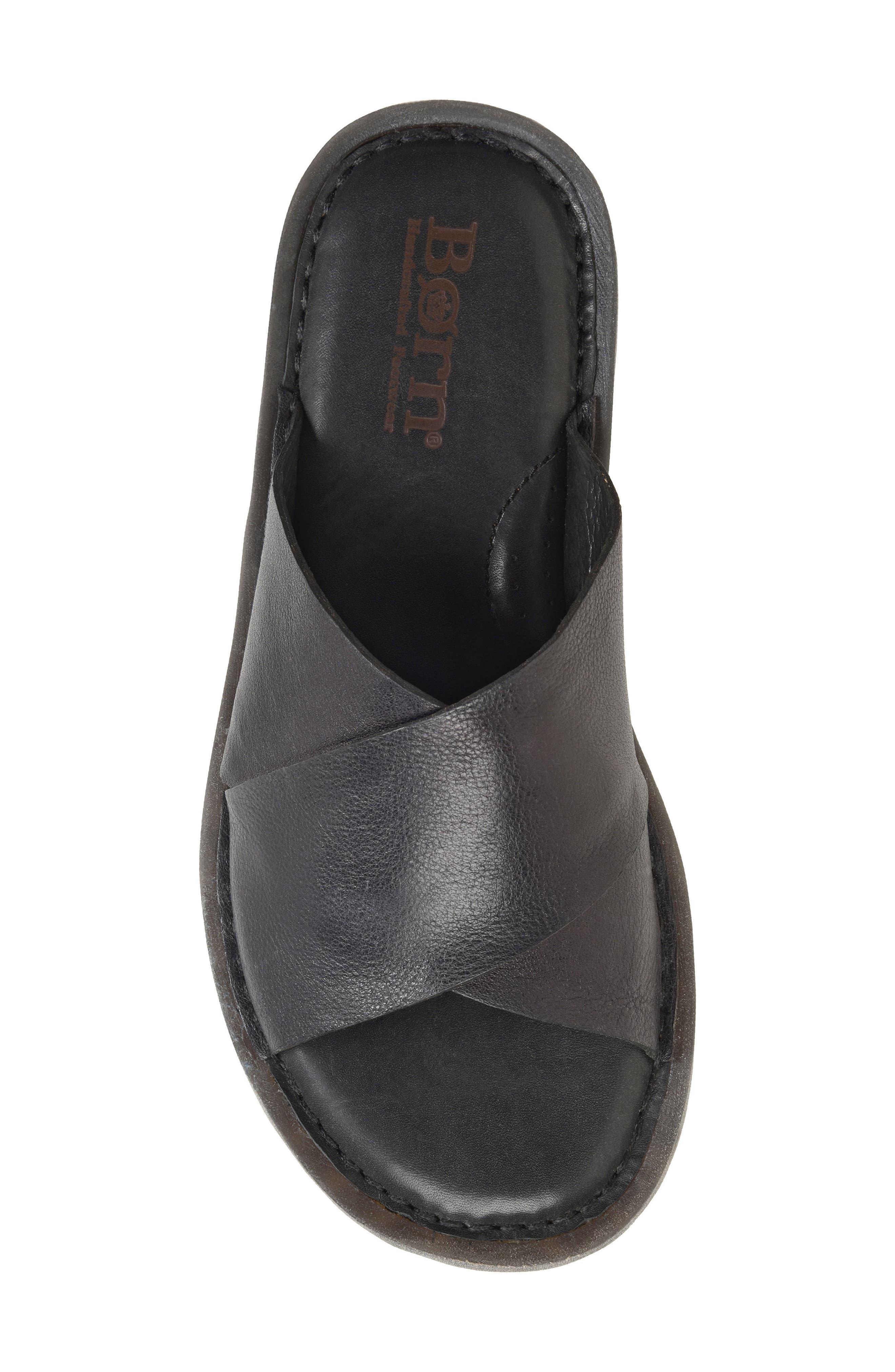 Getaway Slide Sandal,                             Alternate thumbnail 5, color,                             BLACK LEATHER
