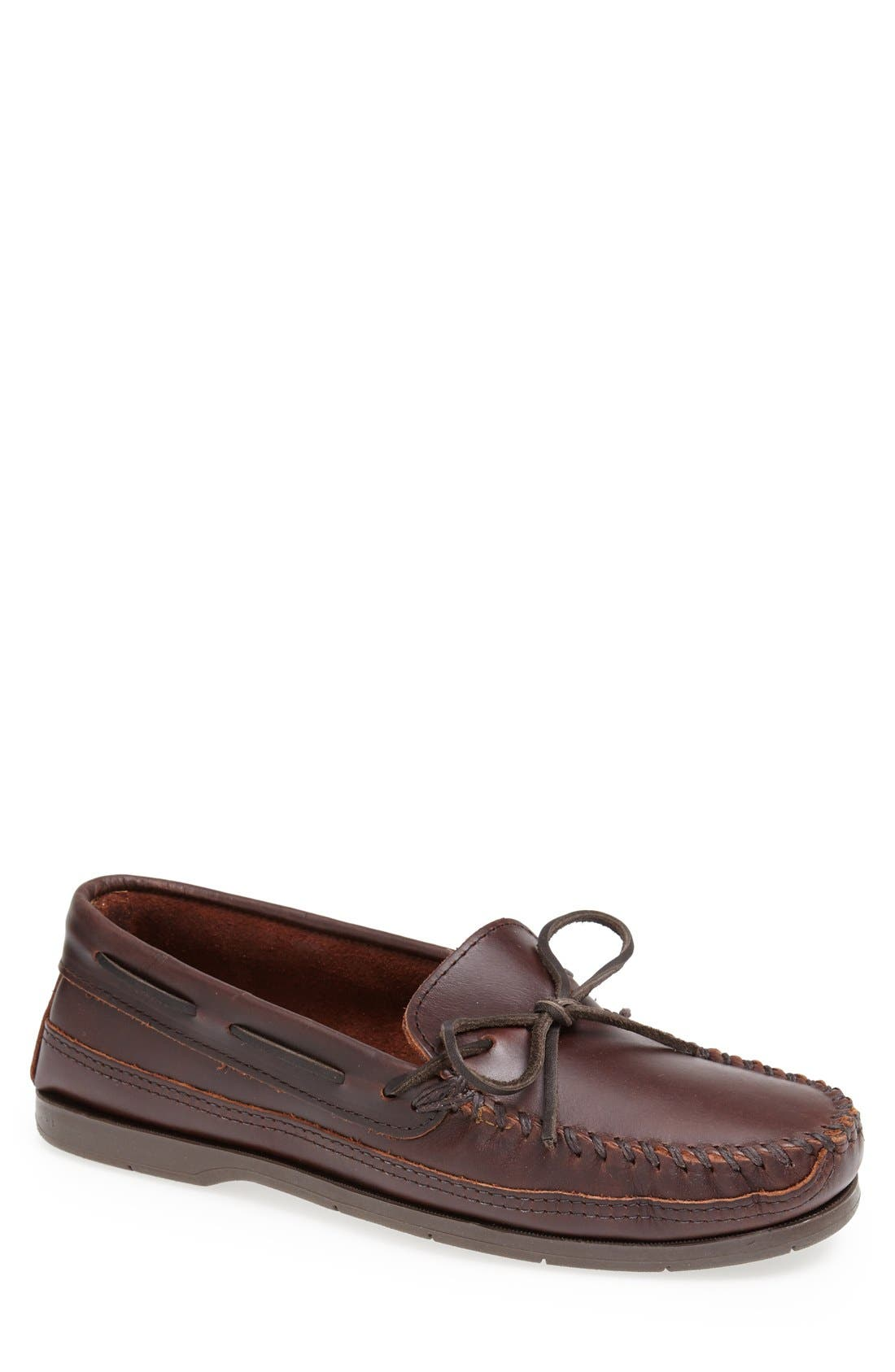 Double Sole Moccasin,                         Main,                         color, BROWN