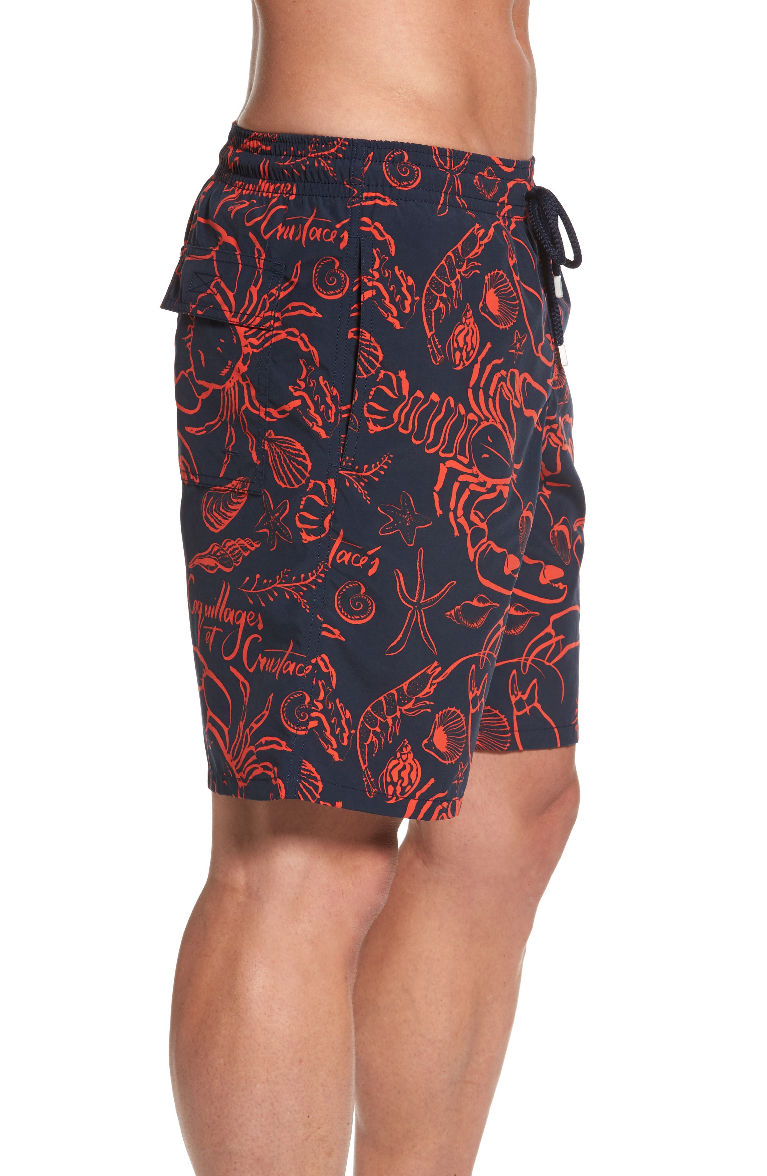Okoa Shellfish Swim Trunks,                             Alternate thumbnail 3, color,                             NAVY BLUE