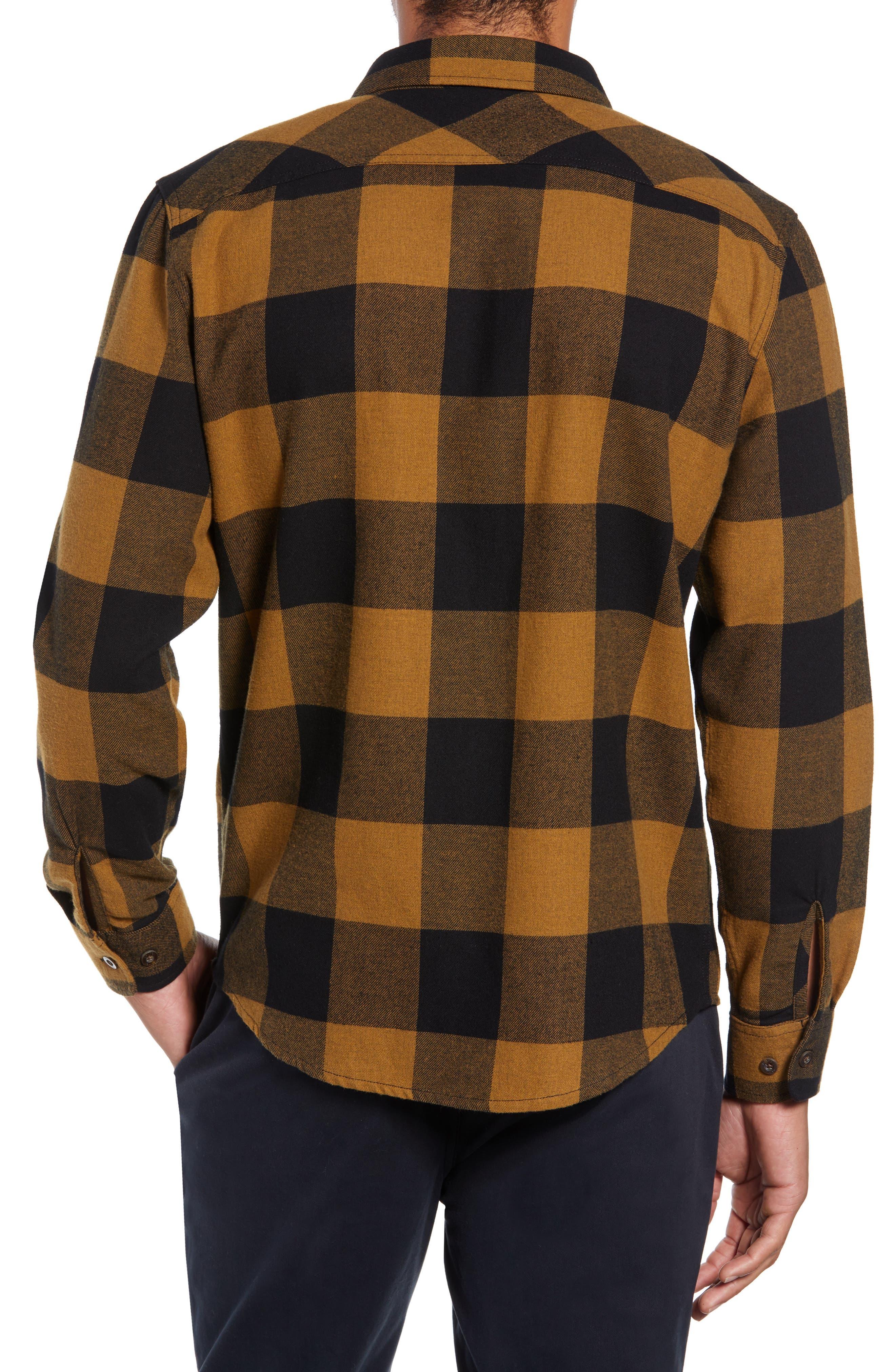 Bowery Buffalo Plaid Flannel Shirt,                             Alternate thumbnail 3, color,                             BLACK/ BRONZE