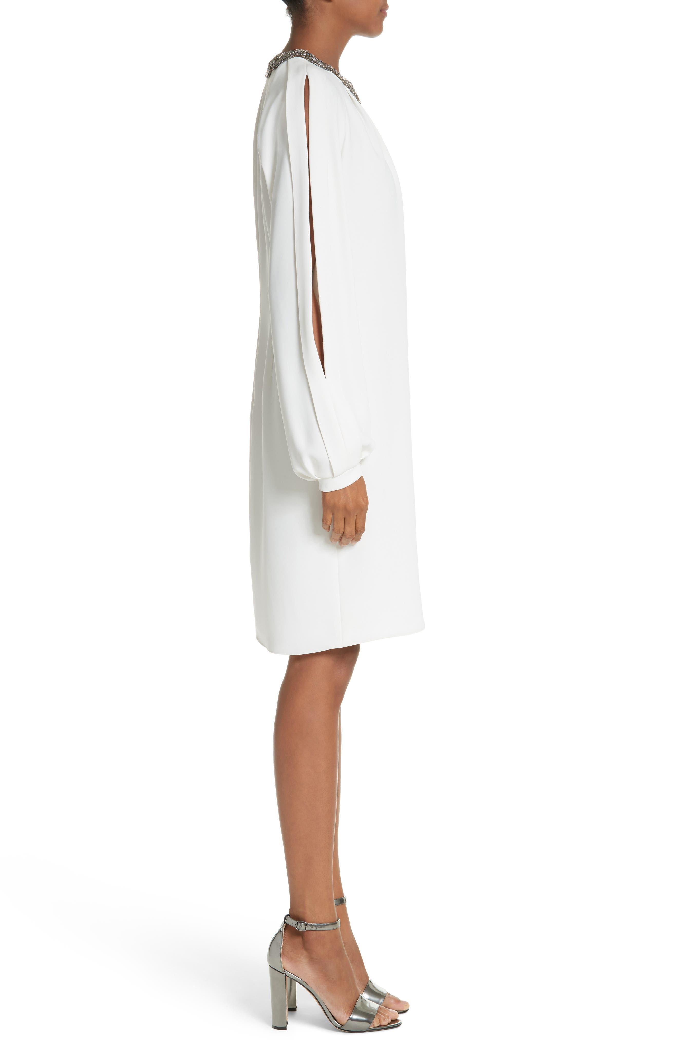 Carmen Marc Valvo Embellished Split Sleeve Shift Dress,                             Alternate thumbnail 3, color,