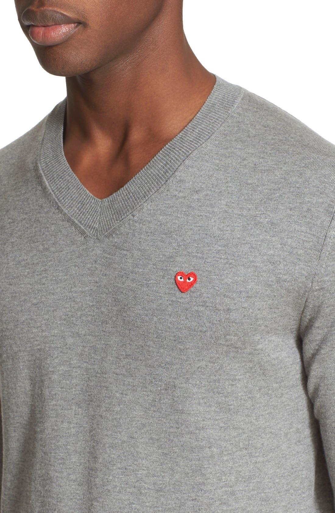 V-Neck Cotton Pullover,                             Alternate thumbnail 4, color,                             020