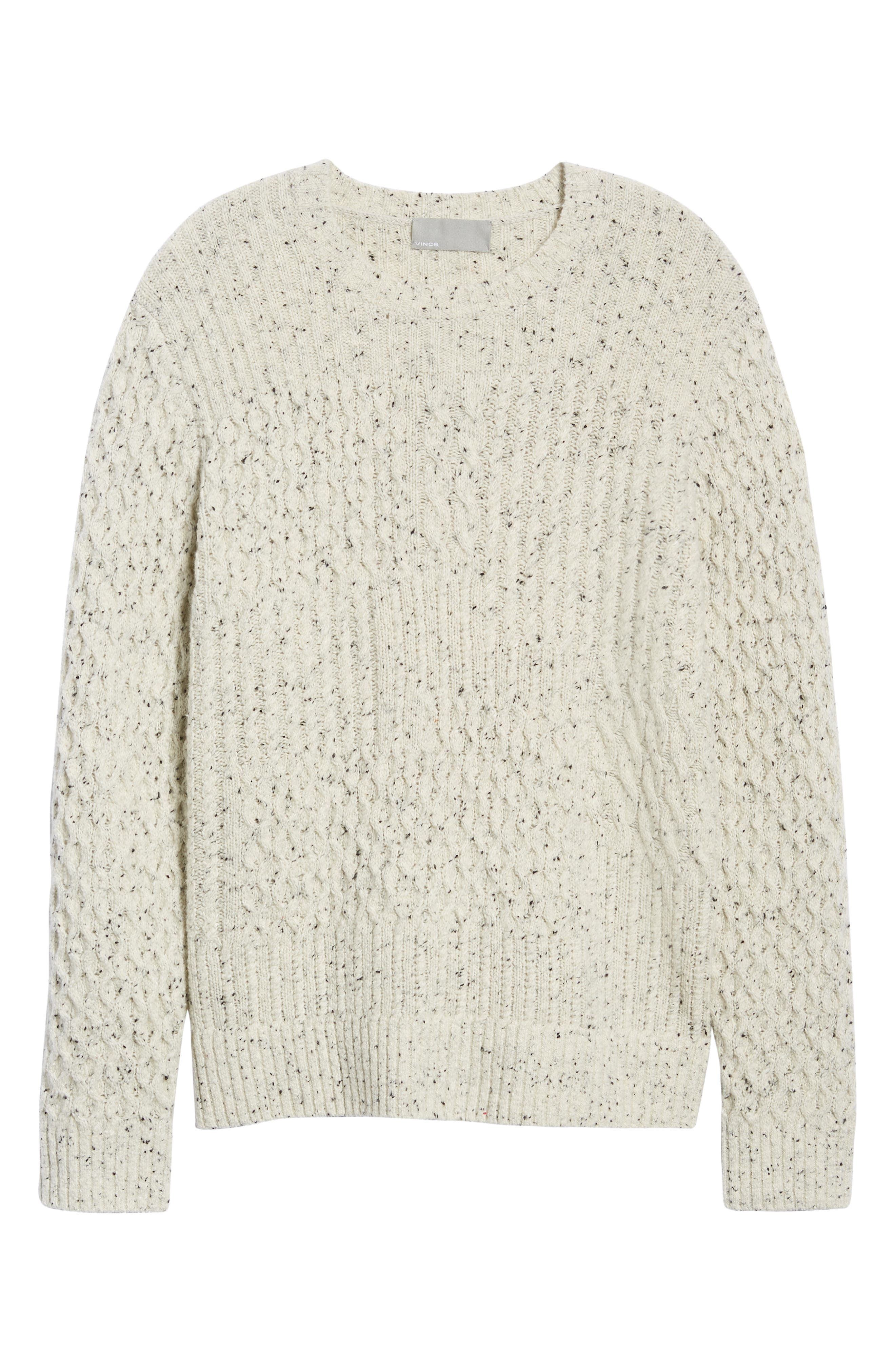 VINCE,                             Cable Knit Sweater,                             Alternate thumbnail 6, color,                             H WHITE