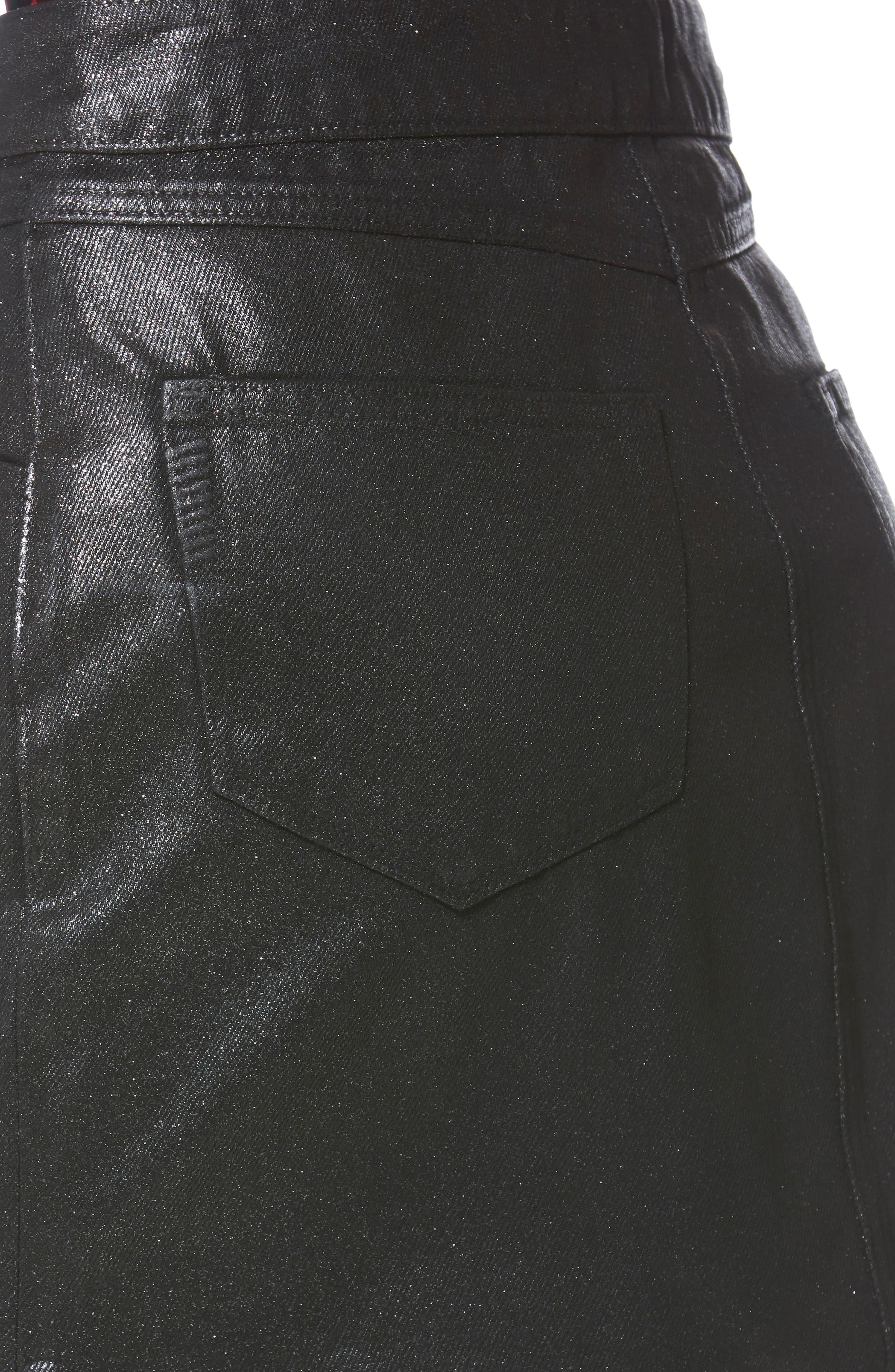 Jamine Zip Front Skirt,                             Alternate thumbnail 6, color,                             SPARKLE COATING