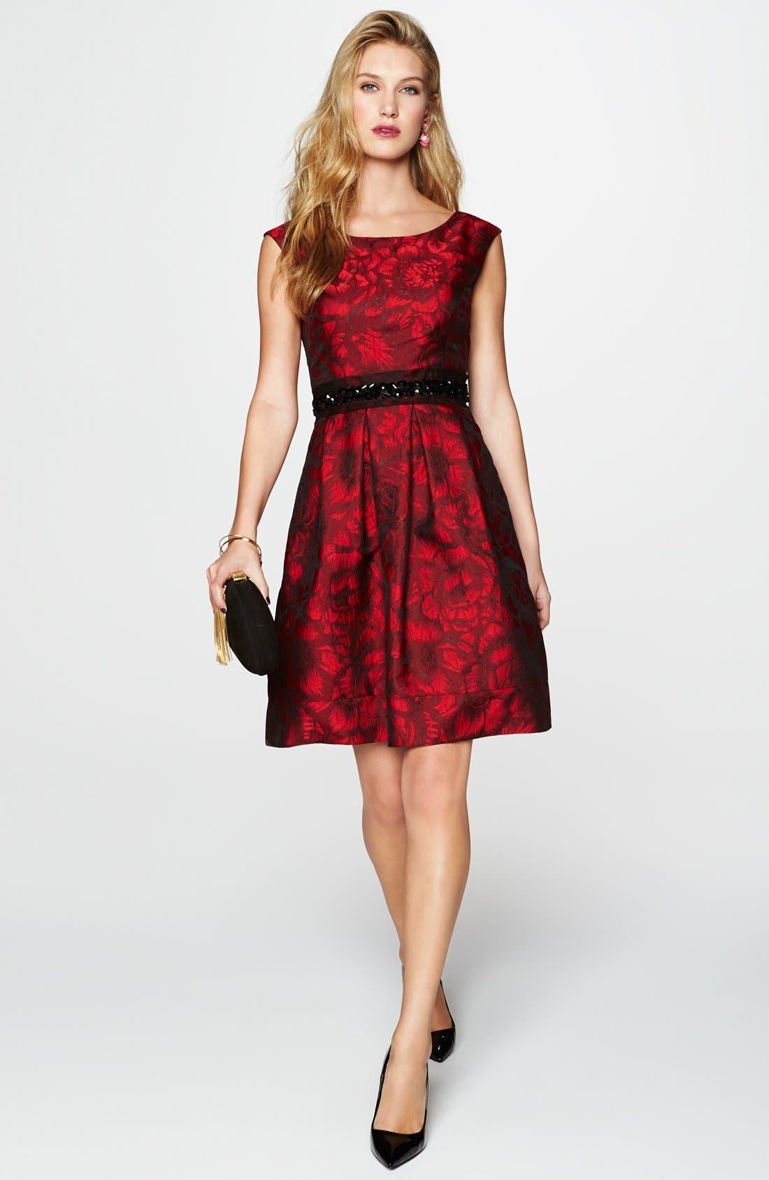 Embellished Waist Brocade Fit & Flare Dress,                             Alternate thumbnail 6, color,                             614