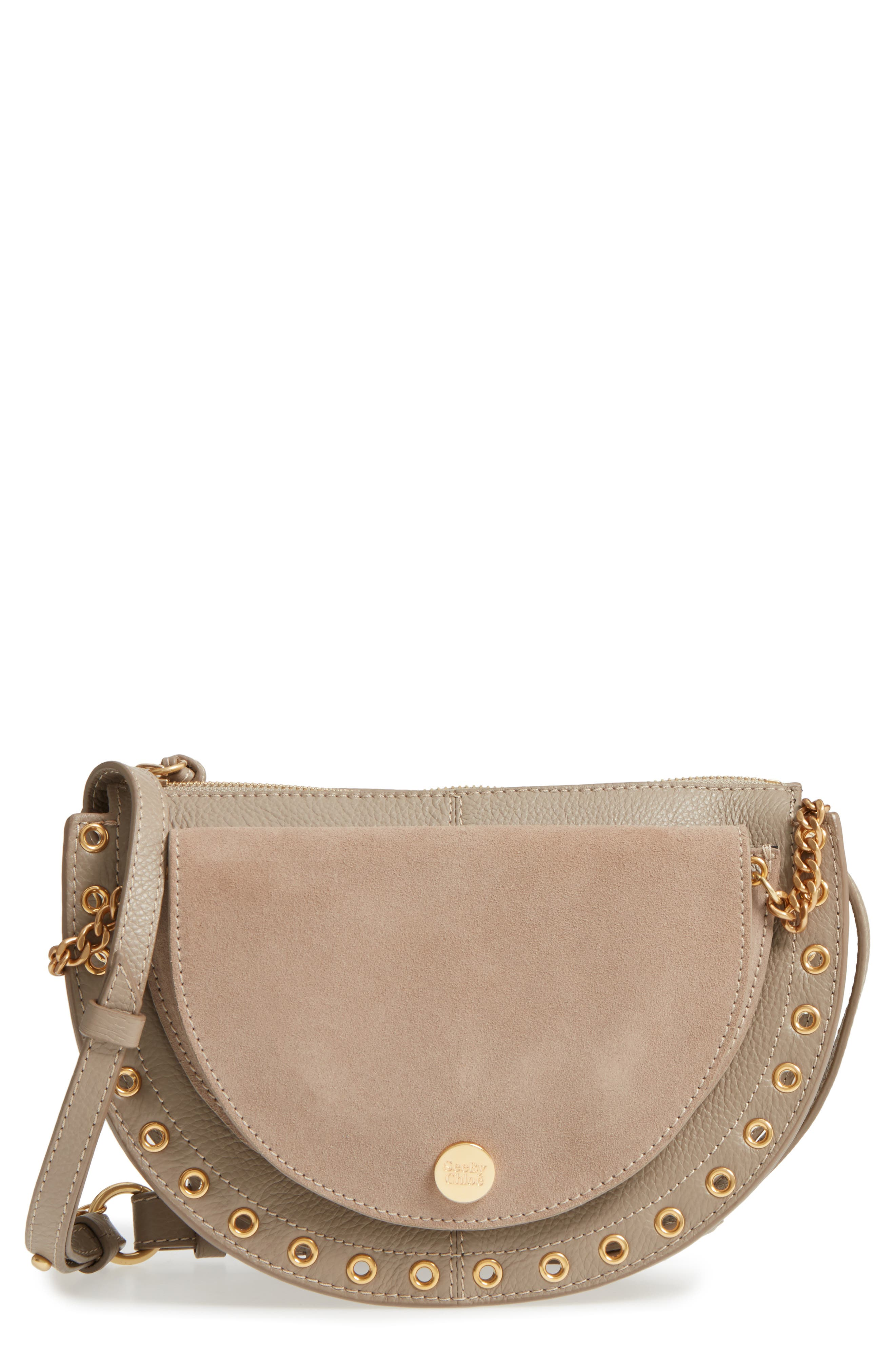Kriss Leather & Suede Grommet Shoulder Bag,                             Main thumbnail 1, color,                             MOTTY GREY