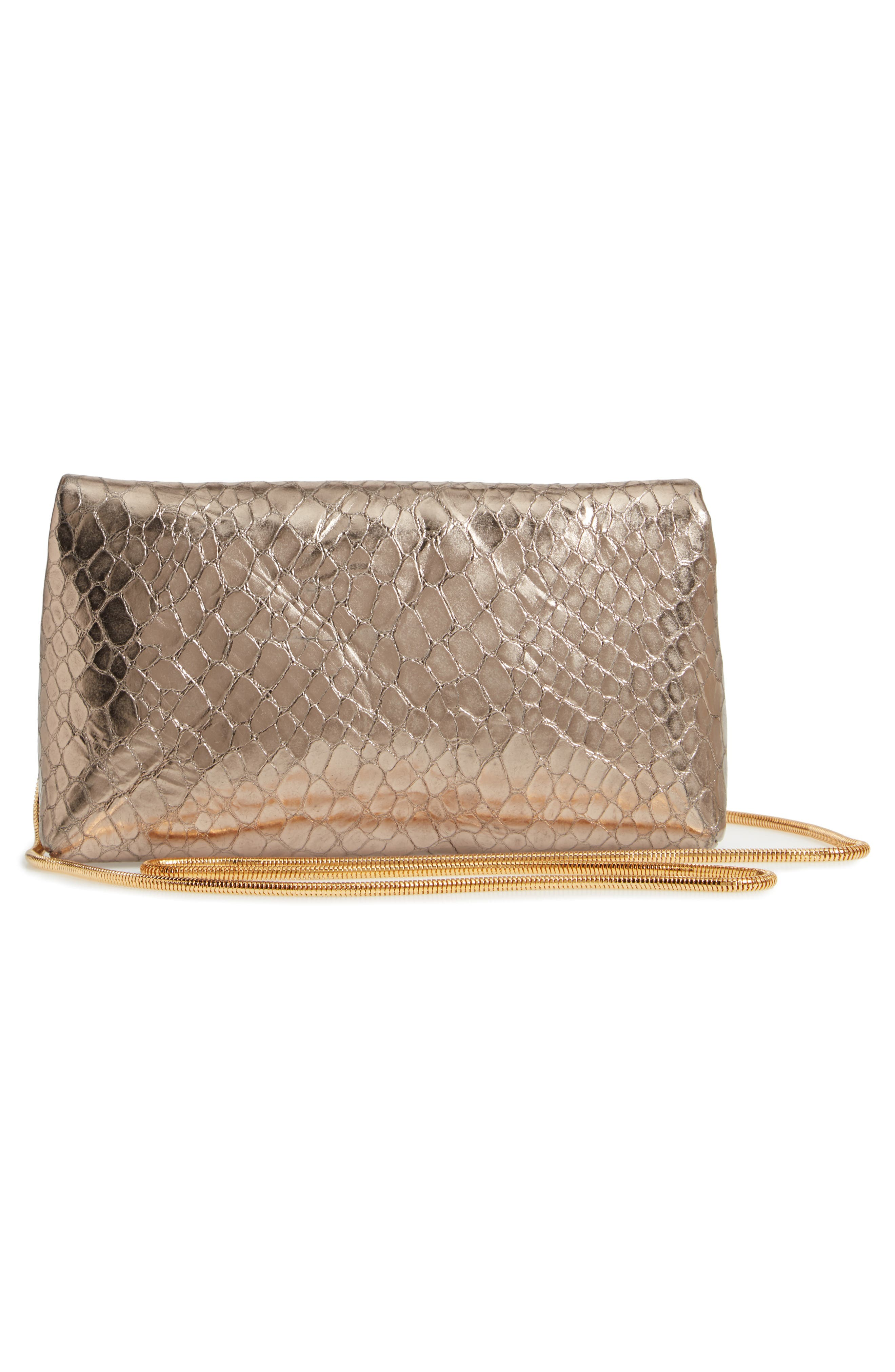 Snake Embossed Leather Envelope Clutch,                             Alternate thumbnail 3, color,                             SILVER