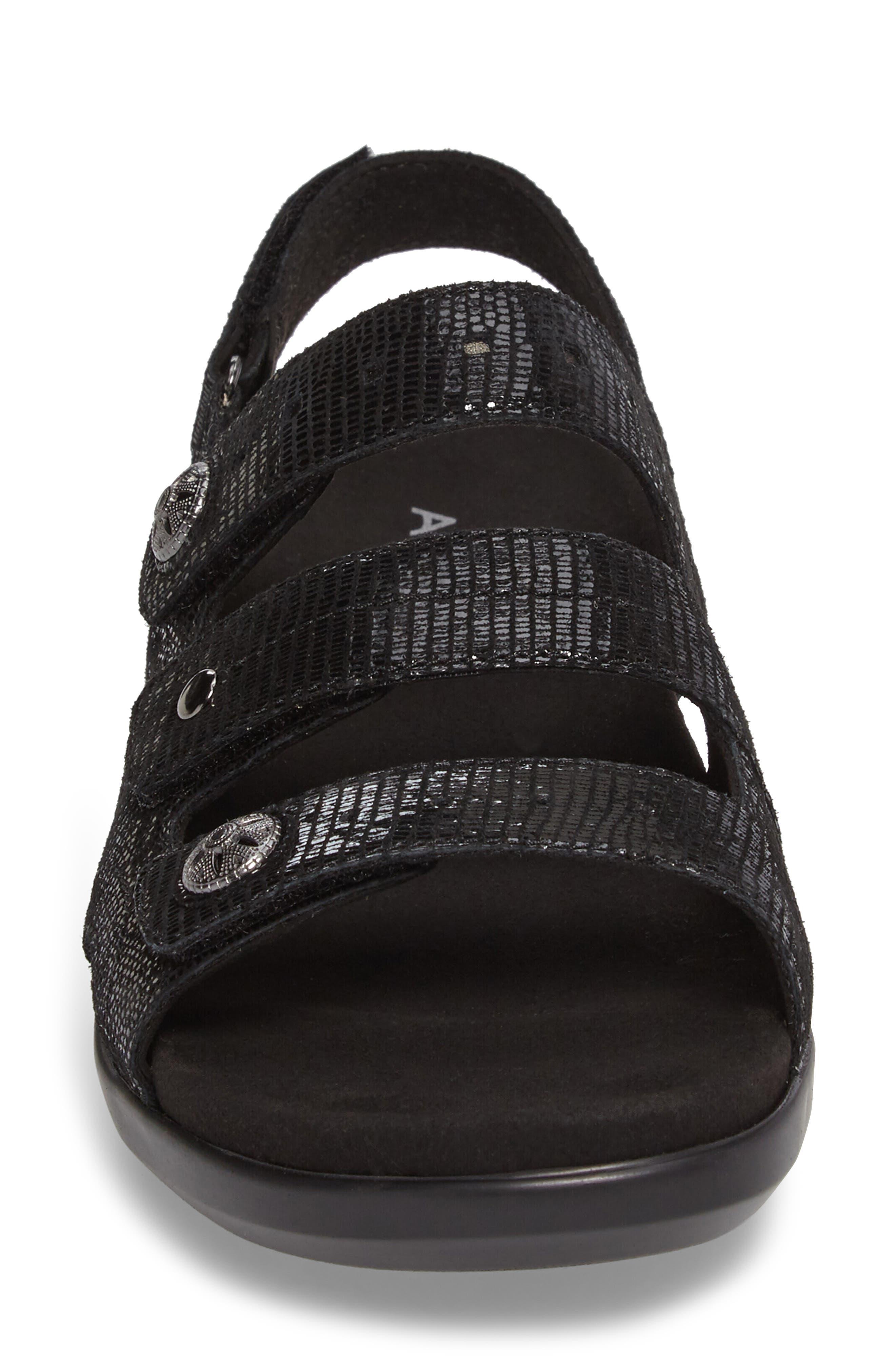 PC Wedge Sandal,                             Alternate thumbnail 4, color,                             BLACK FABRIC