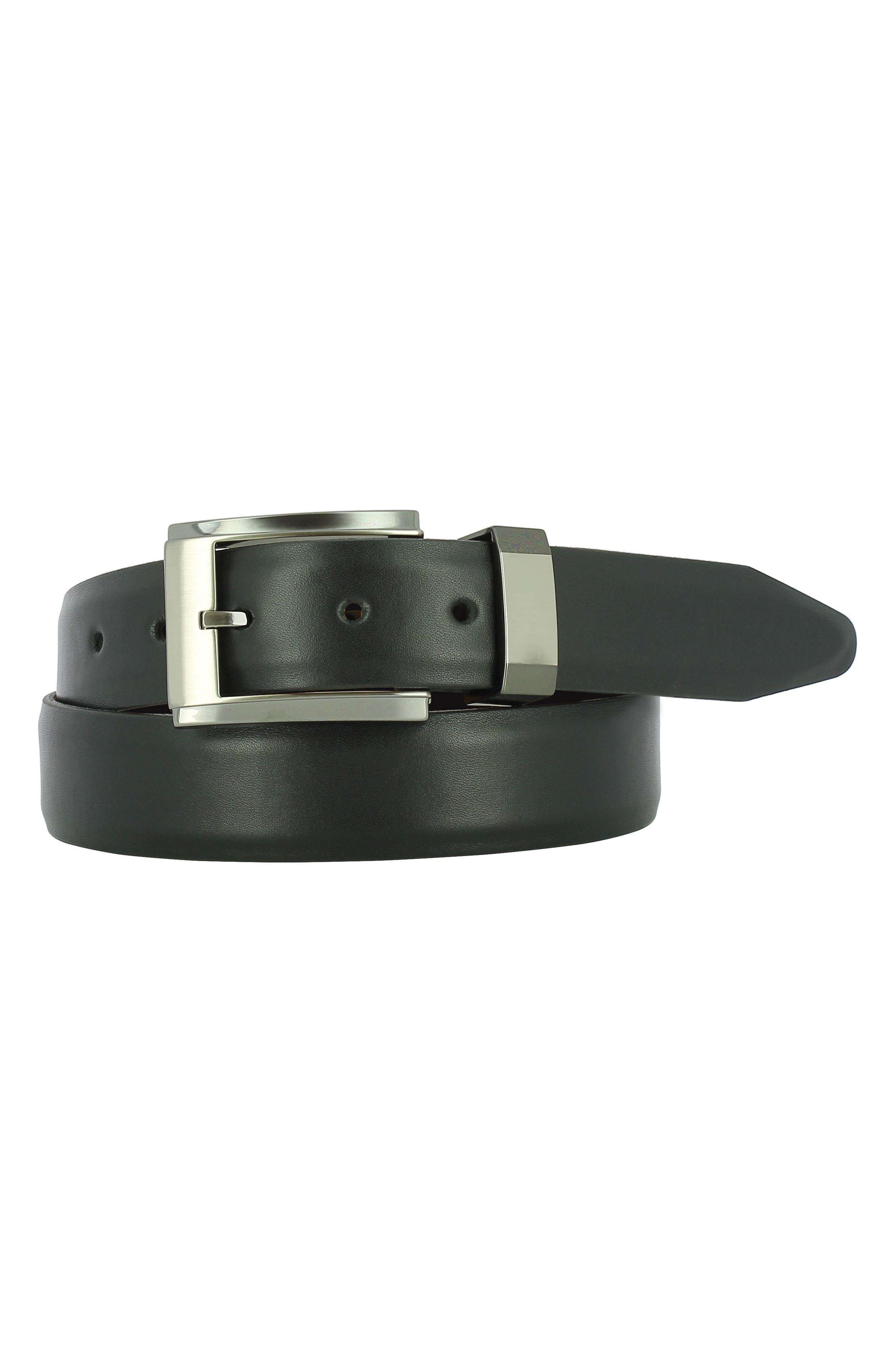 Luke Leather Belt,                             Main thumbnail 1, color,                             BLACK