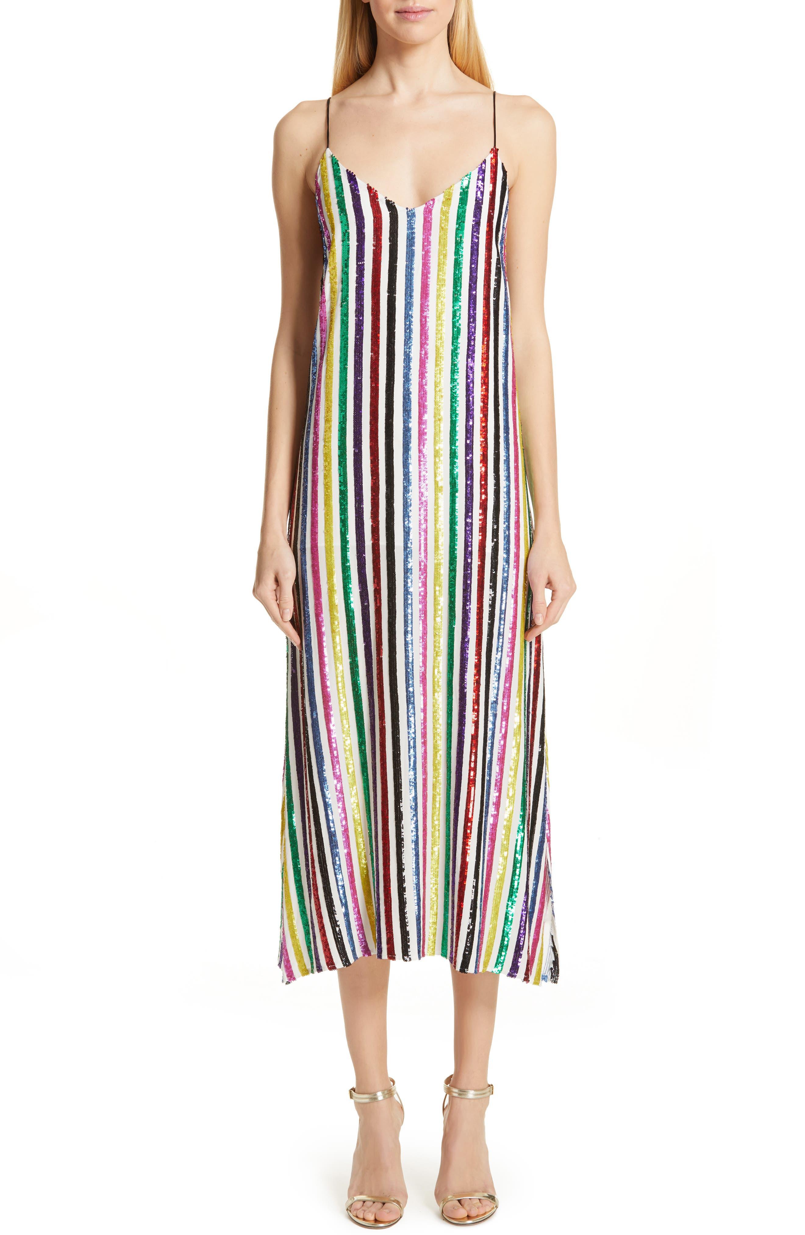 CAROLINE CONSTAS Sequin Stripe Midi Slipdress, Main, color, WHITE MULTI