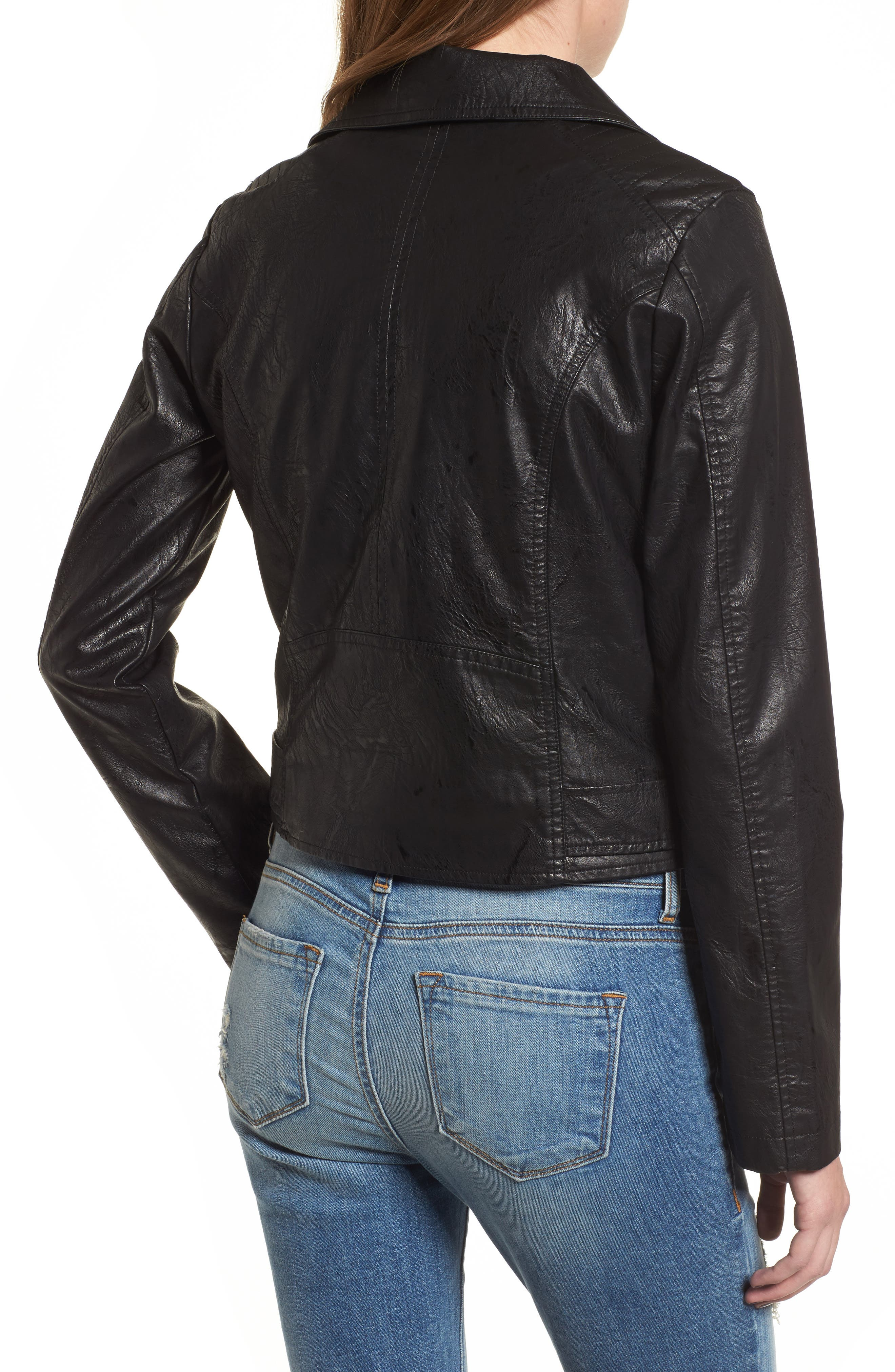 Textured Faux Leather Jacket,                             Alternate thumbnail 2, color,
