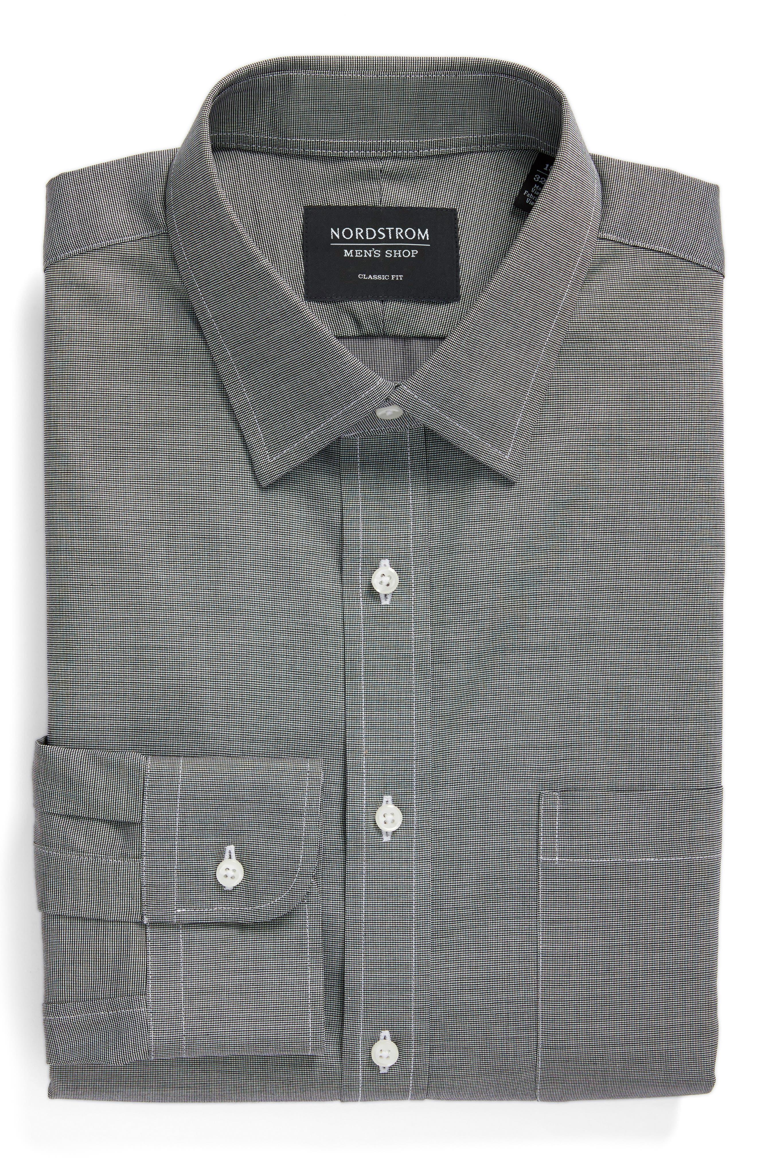 Classic Fit Non-Iron Dress Shirt, Alternate, color, BLACK ROCK