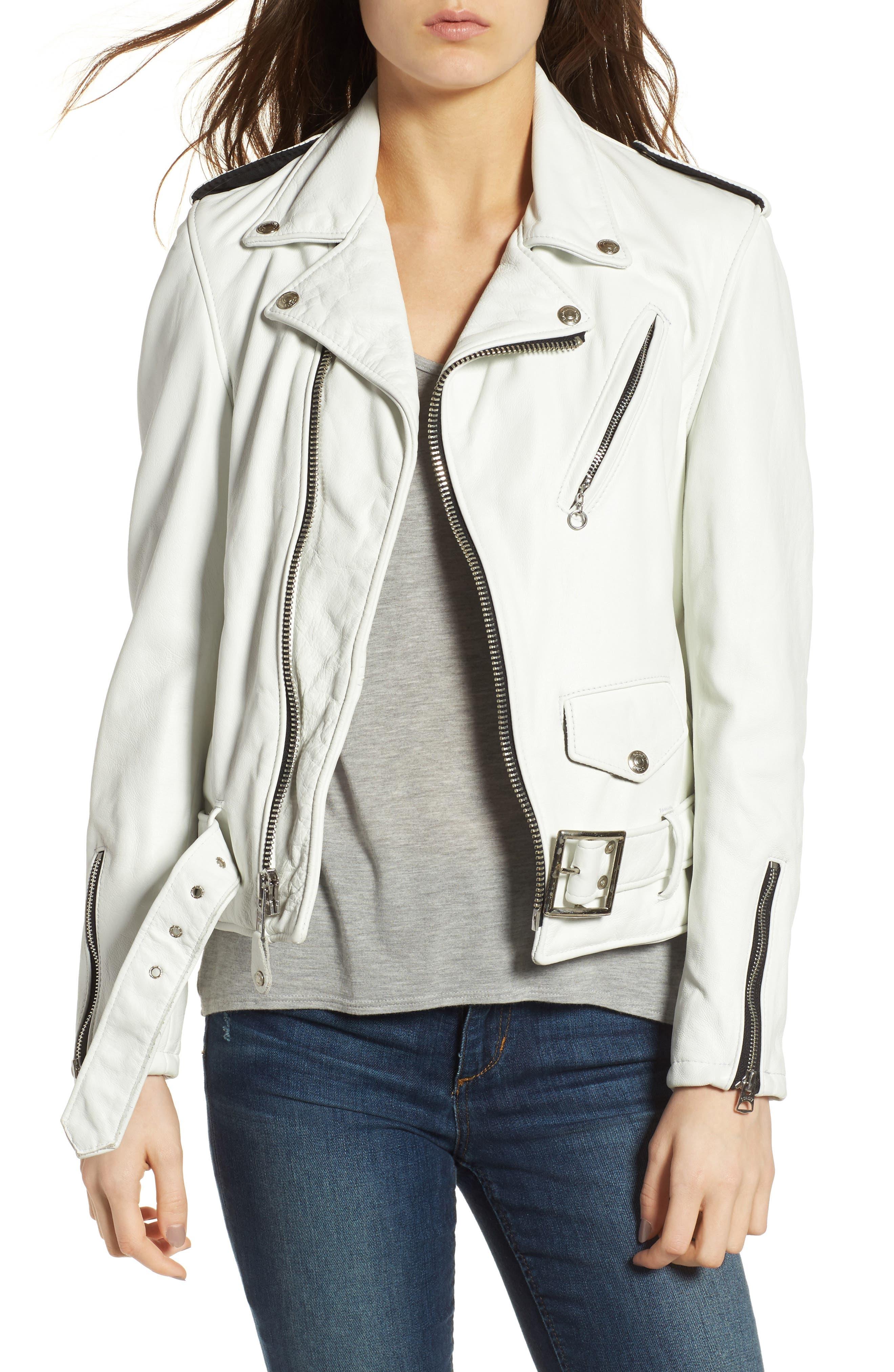 Boyfriend Leather Jacket in White