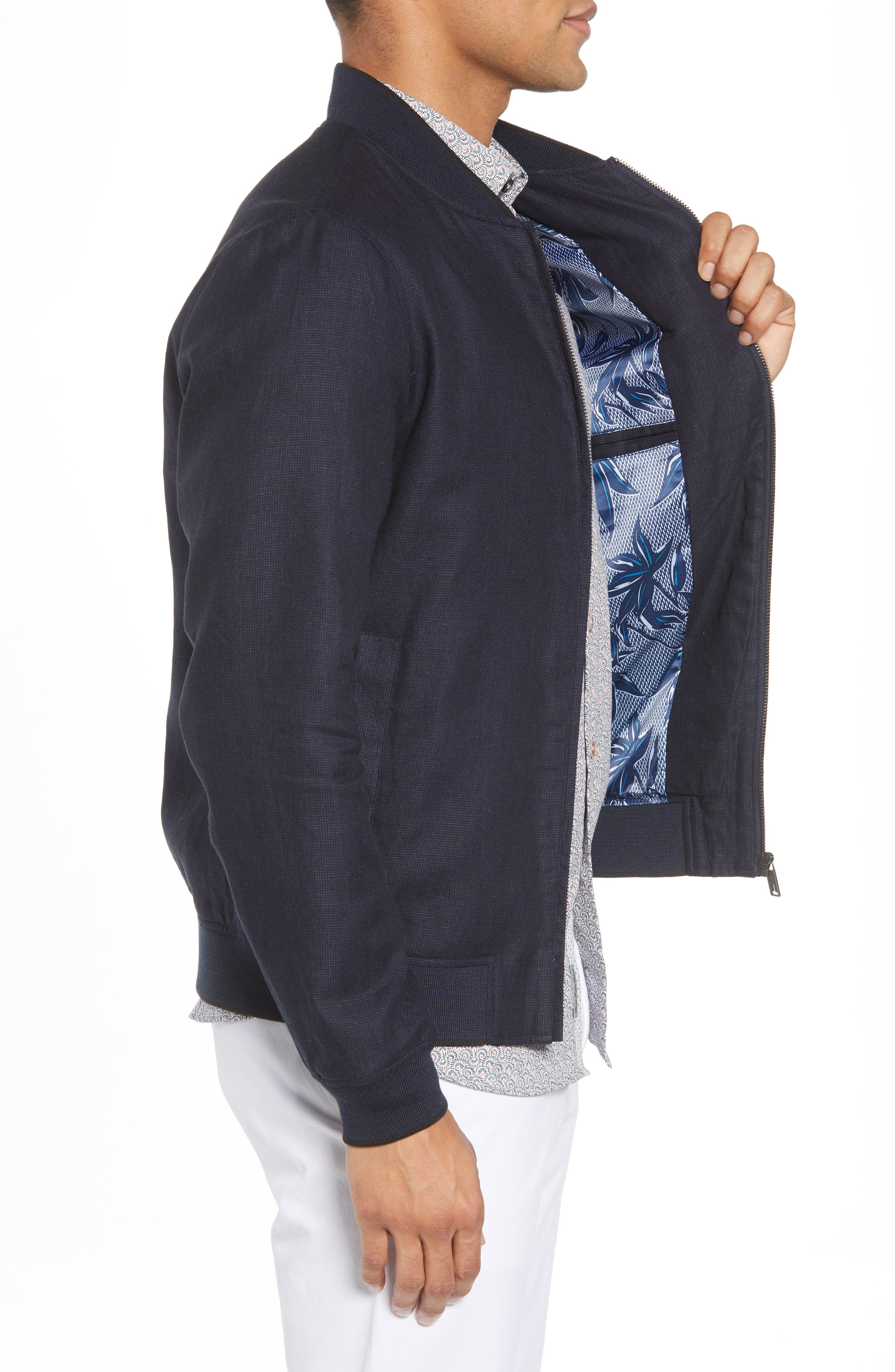 Raney Trim Fit Linen & Cotton Jacket,                             Alternate thumbnail 3, color,                             410