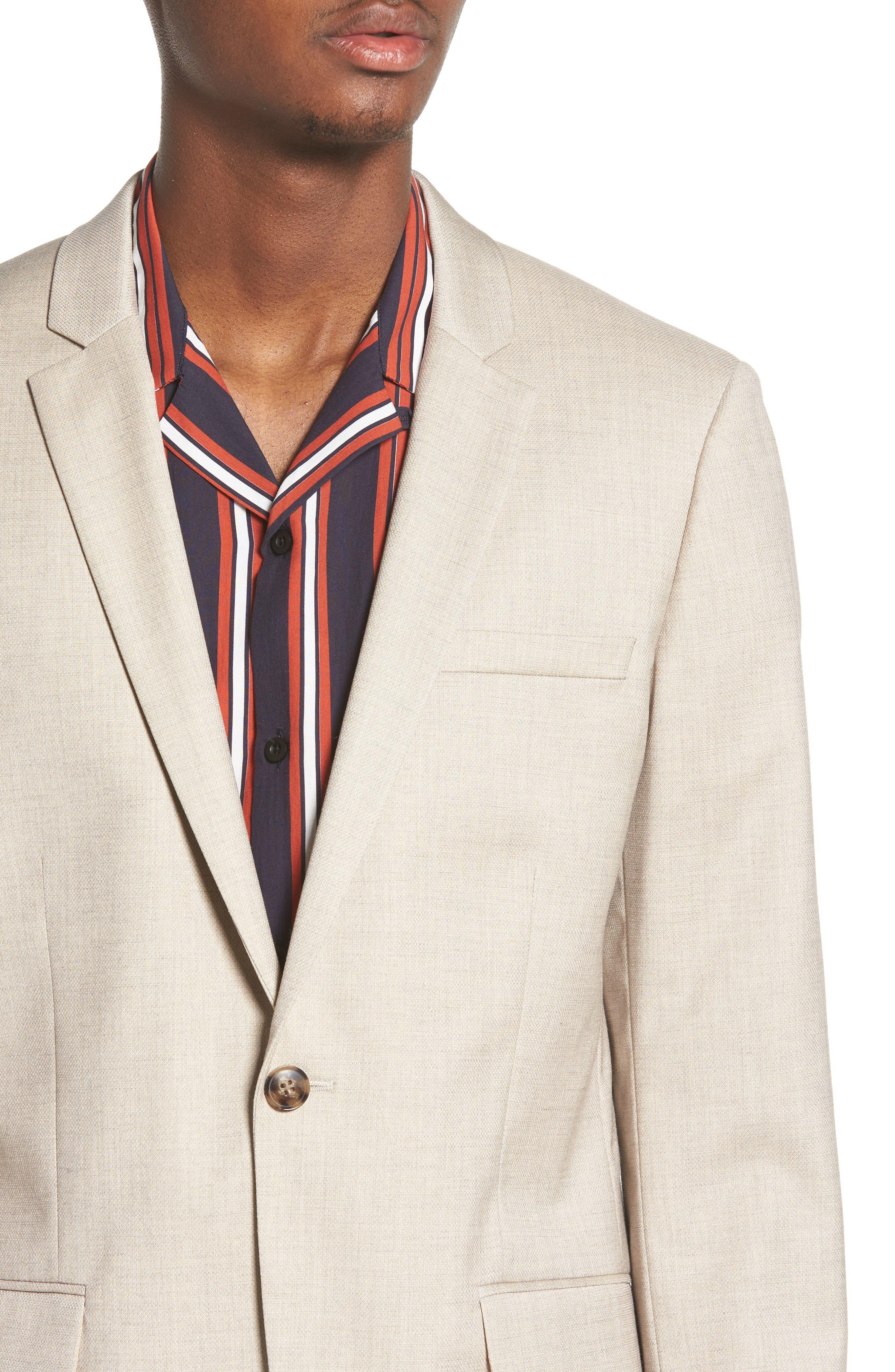 Skinny Fit Check Suit Jacket,                             Alternate thumbnail 4, color,                             250