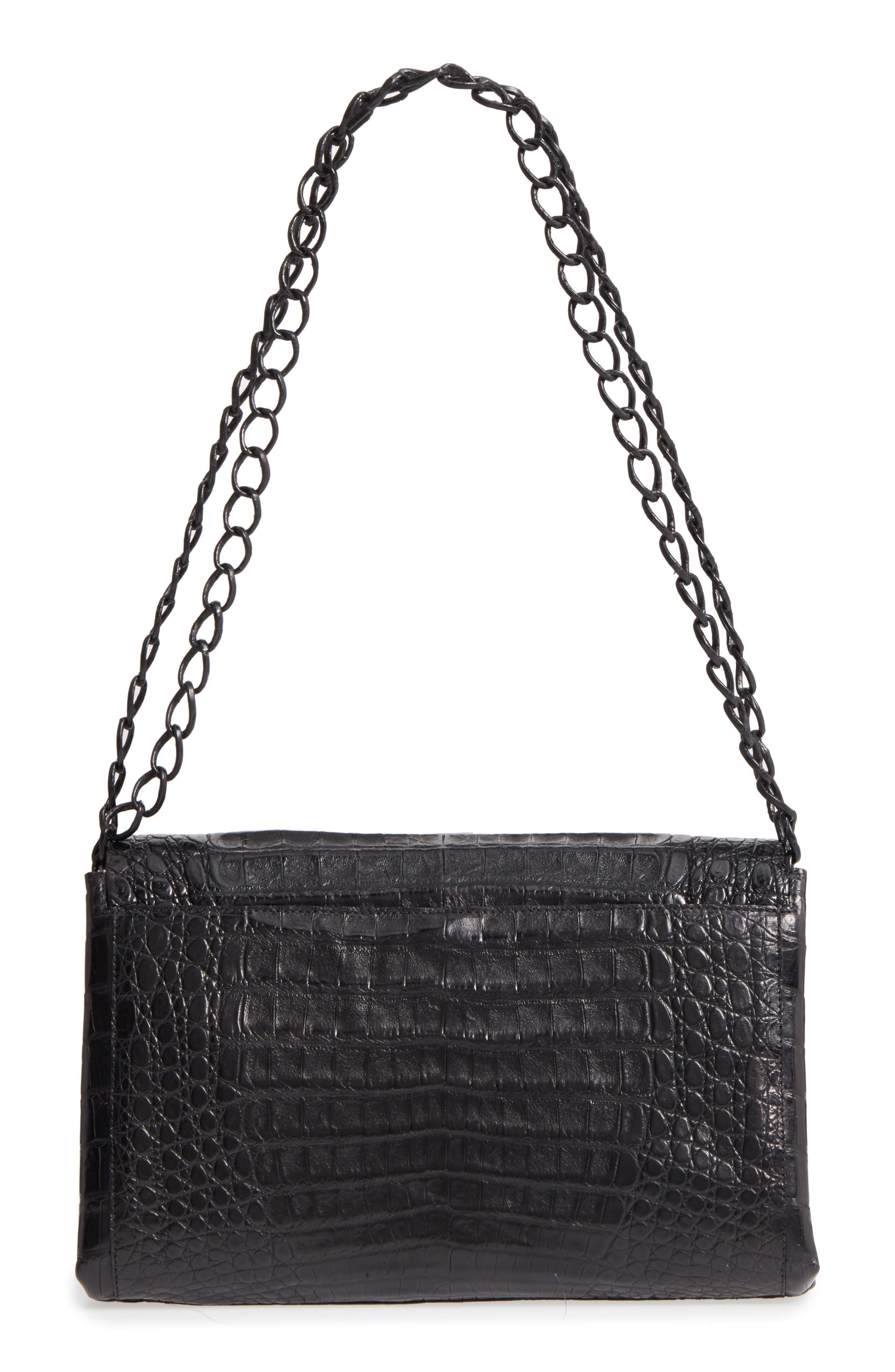 Genuine Crocodile Shoulder Bag,                             Alternate thumbnail 3, color,                             BLACK MATTE