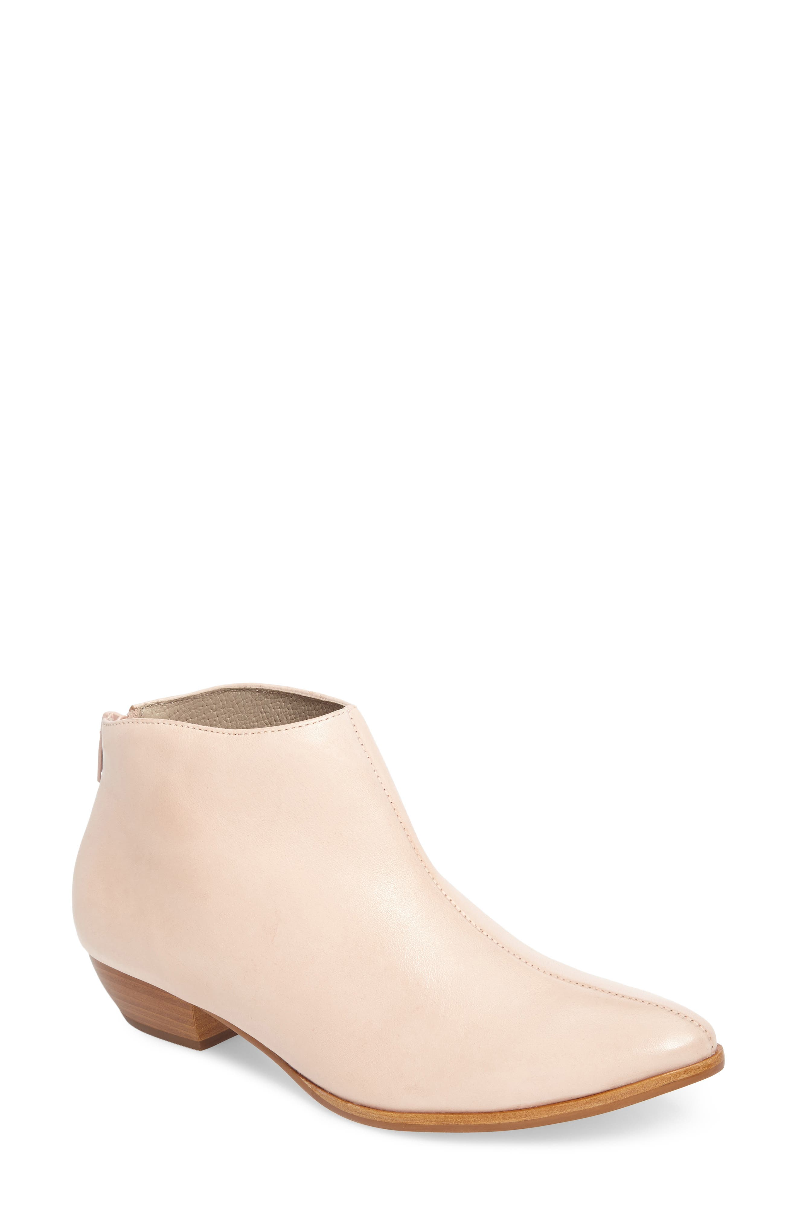 Aida Low Bootie,                             Main thumbnail 1, color,                             NUDE LEATHER