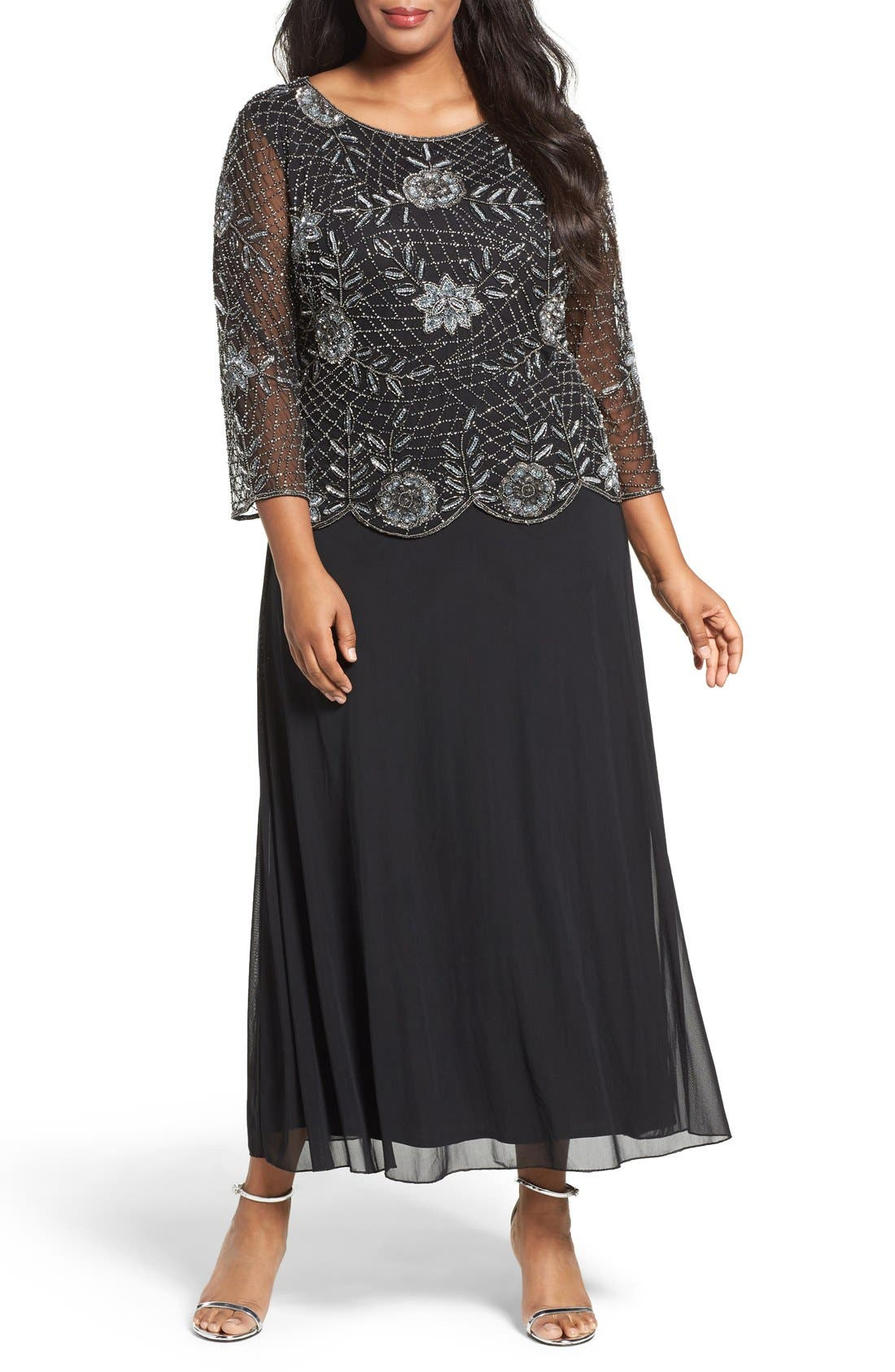 Embellished Mock Two-Piece Long Dress,                             Main thumbnail 1, color,                             013