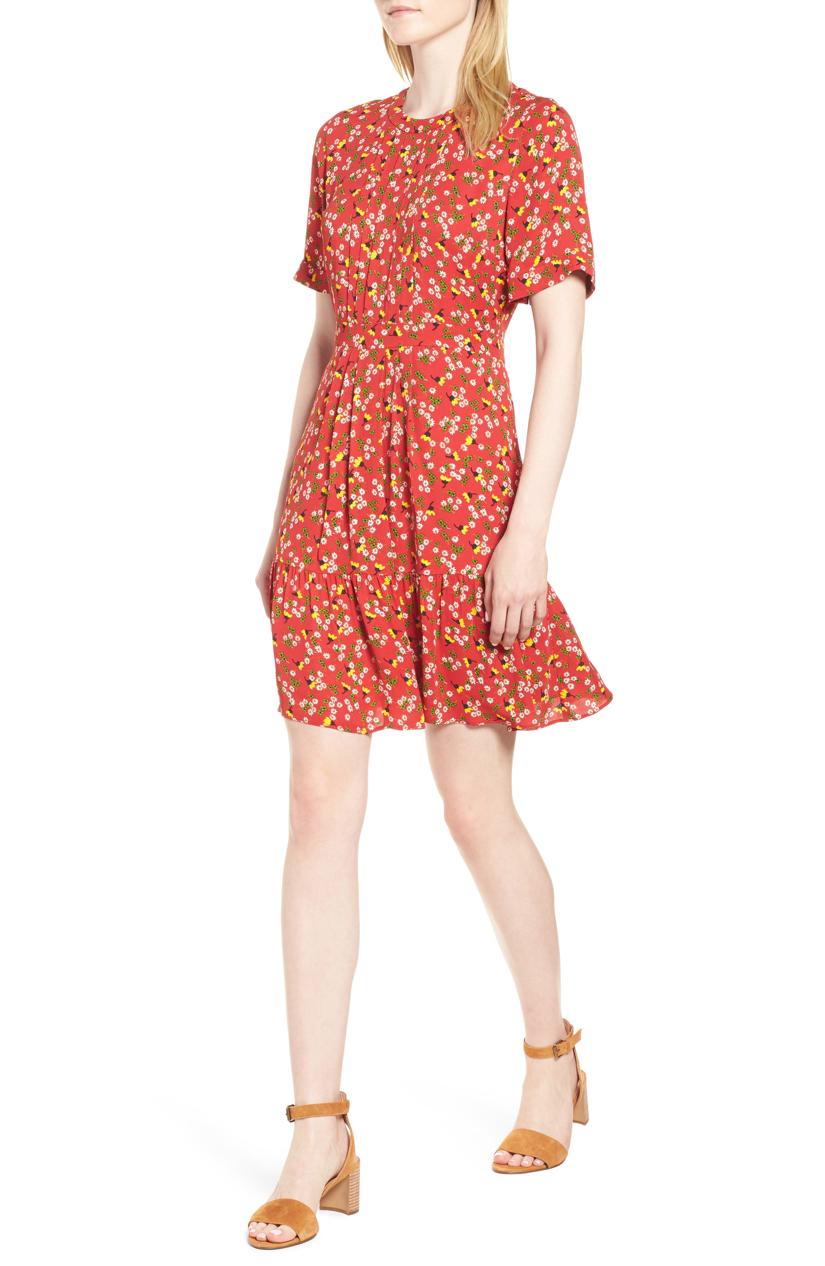 Peony Print Pleat Dress,                         Main,                         color, RED/ MULTI