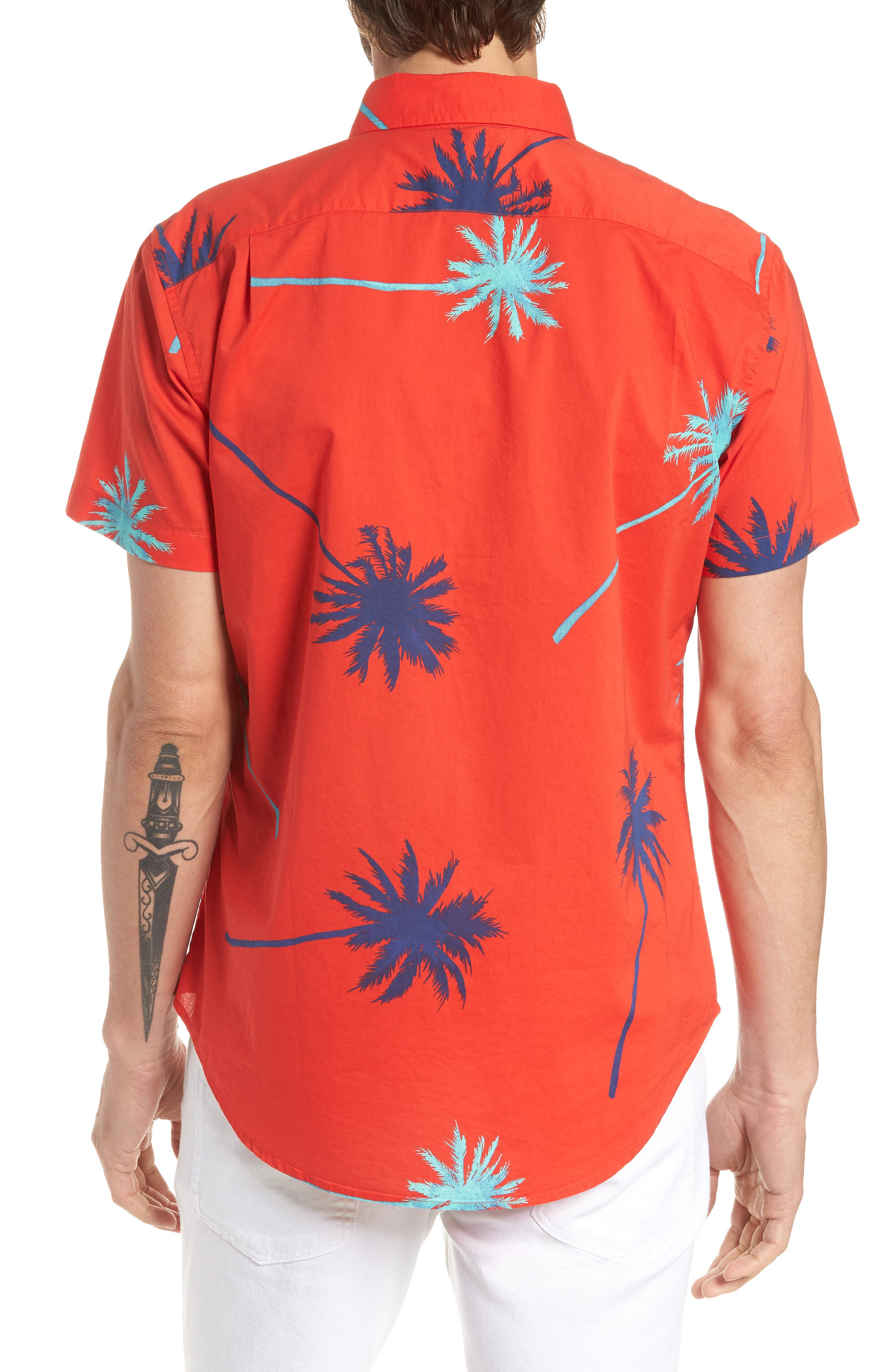 Riviera Slim Fit Palm Print Sport Shirt,                             Alternate thumbnail 3, color,