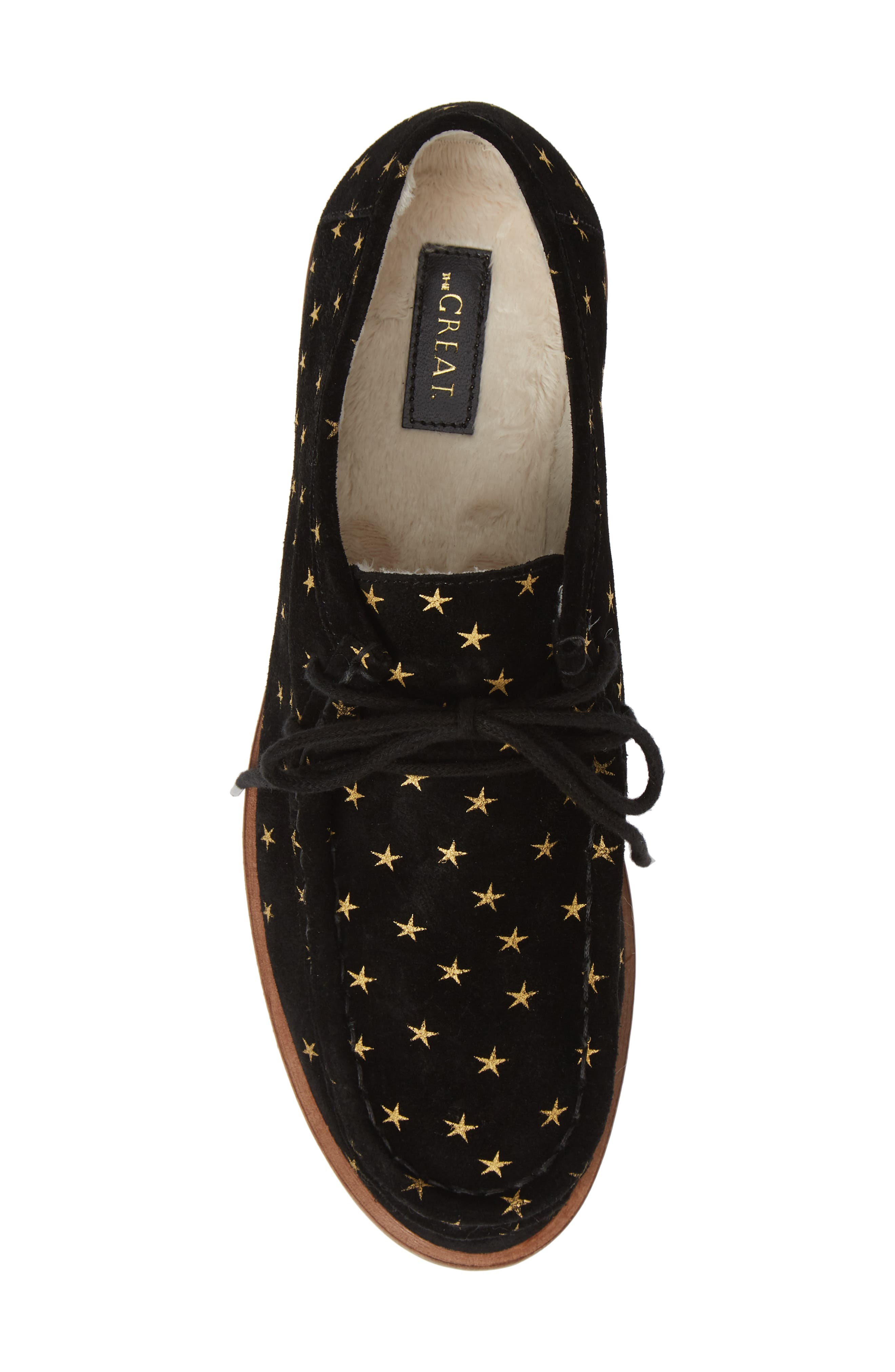 THE GREAT.,                             The Scout Star Sneaker,                             Alternate thumbnail 5, color,                             BLACK / GOLD STARS