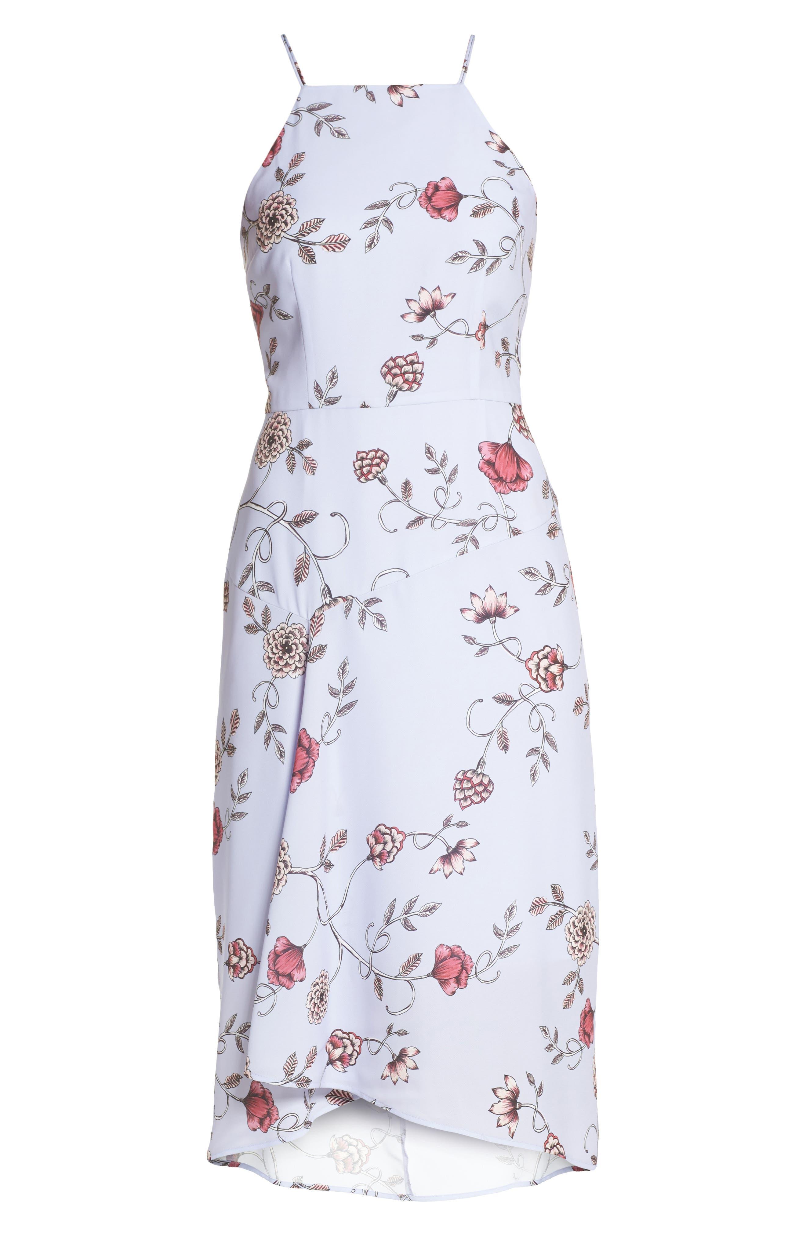 Floral High/Low Midi Dress,                             Alternate thumbnail 6, color,                             510
