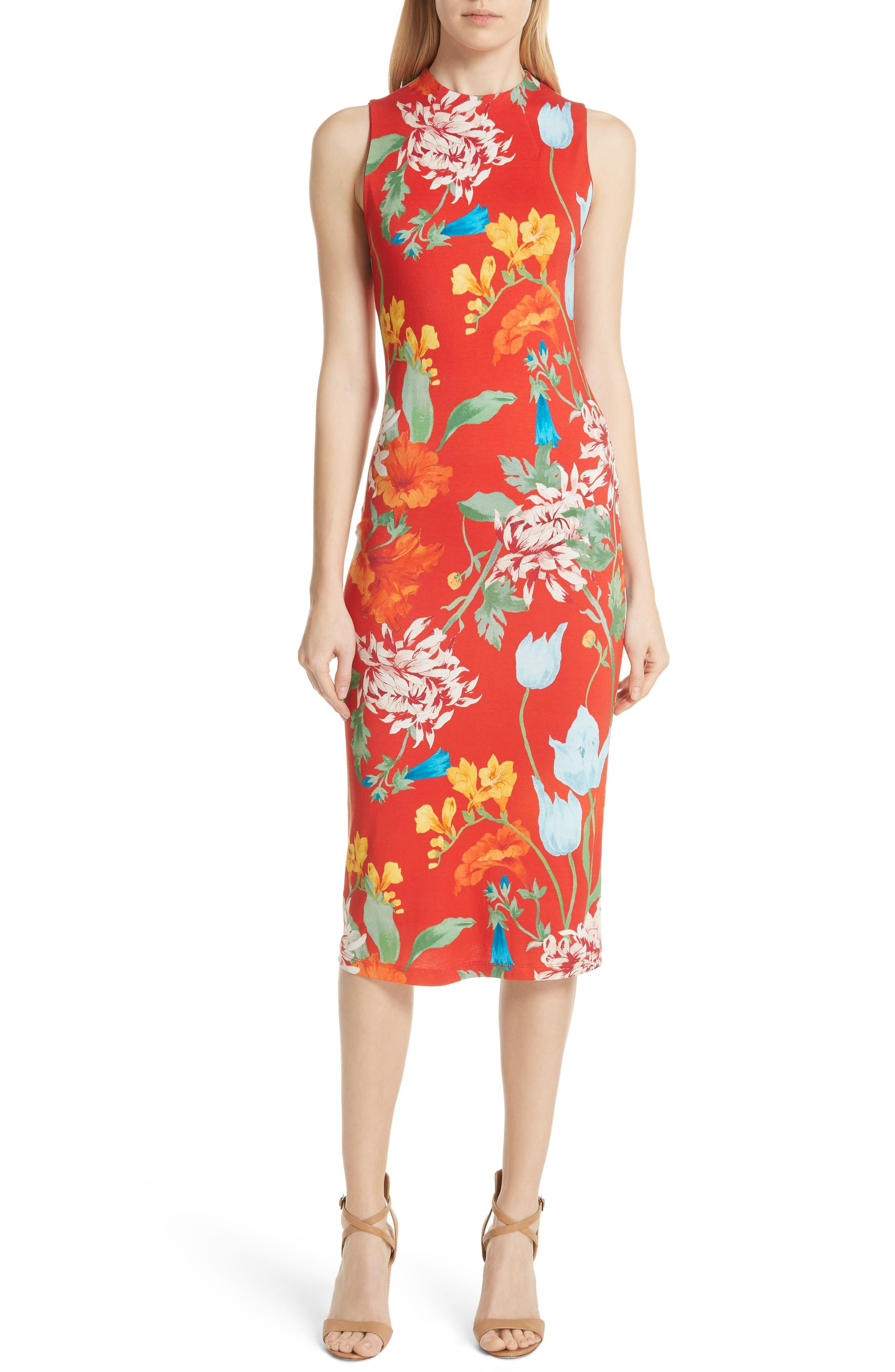 Delora Floral Sleeveless Body-Con Dress,                         Main,                         color, 602