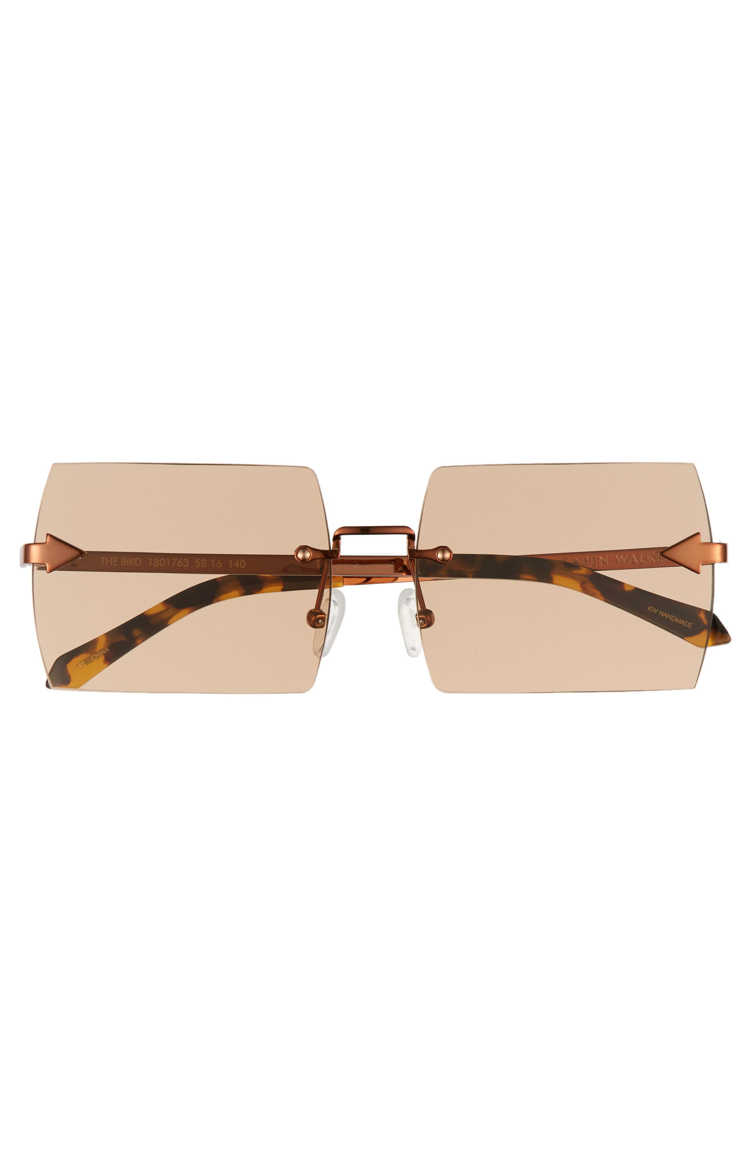 The Bird 58mm Rimless Sunglasses,                             Alternate thumbnail 3, color,                             LIGHT BROWN