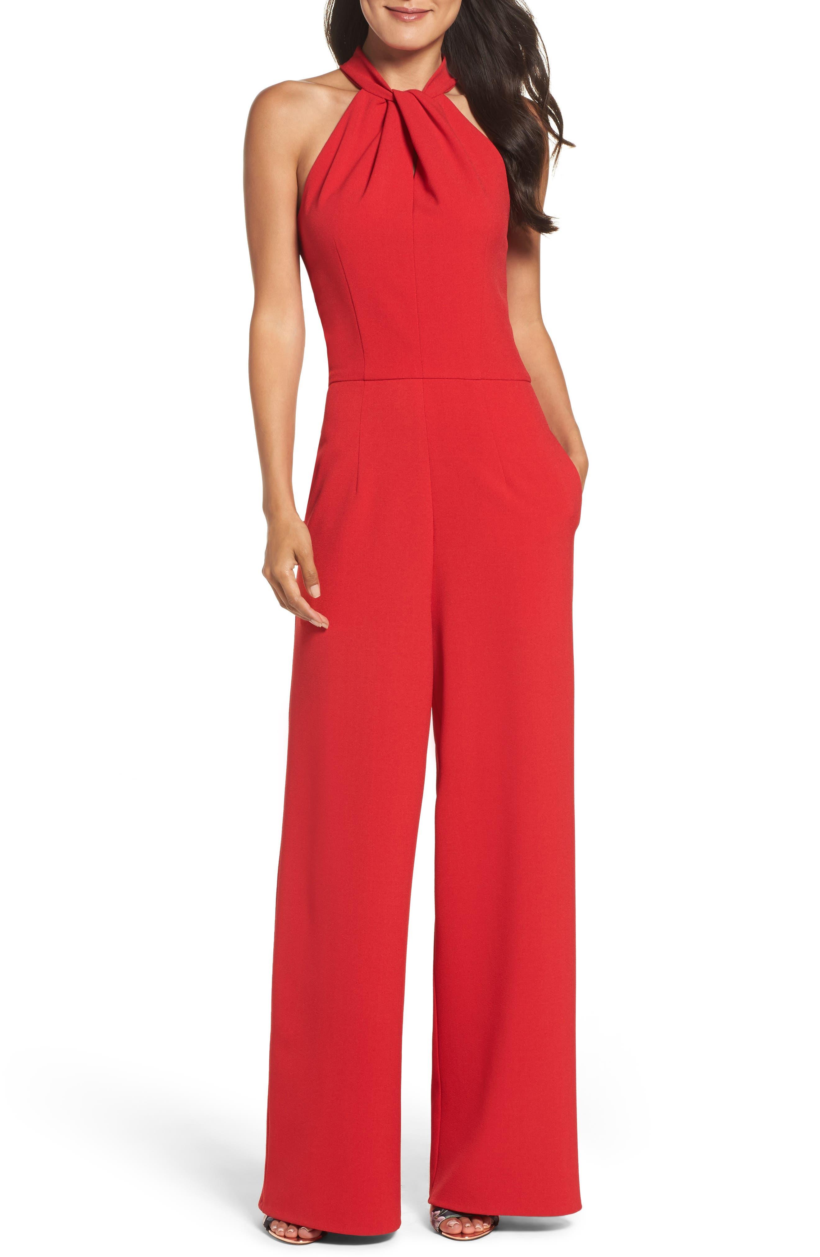 70s Jumpsuit   Disco Jumpsuits – Sequin, Striped, Gold, White, Black Womens Julia Jordan Halter Wide Leg Jumpsuit Size 16 - Red $138.00 AT vintagedancer.com