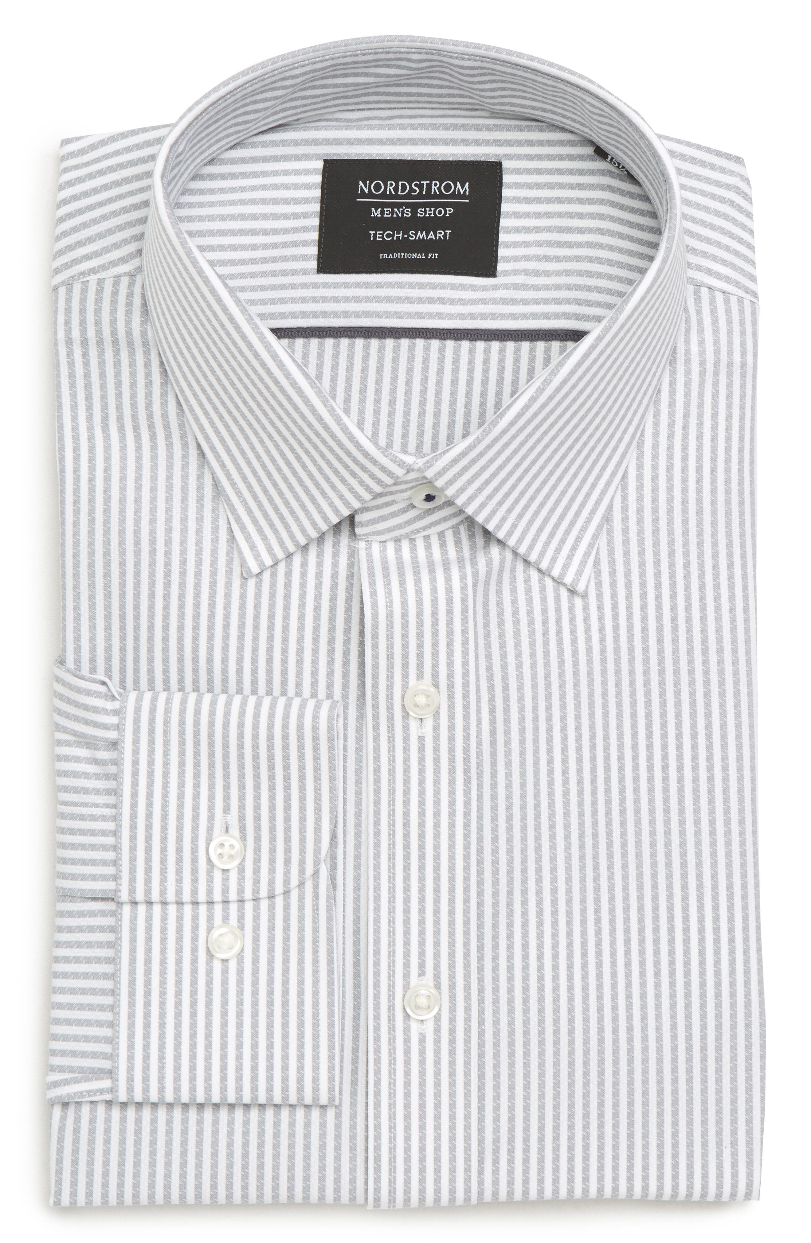 Tech-Smart Traditional Fit Stripe Stretch Dress Shirt,                             Alternate thumbnail 13, color,