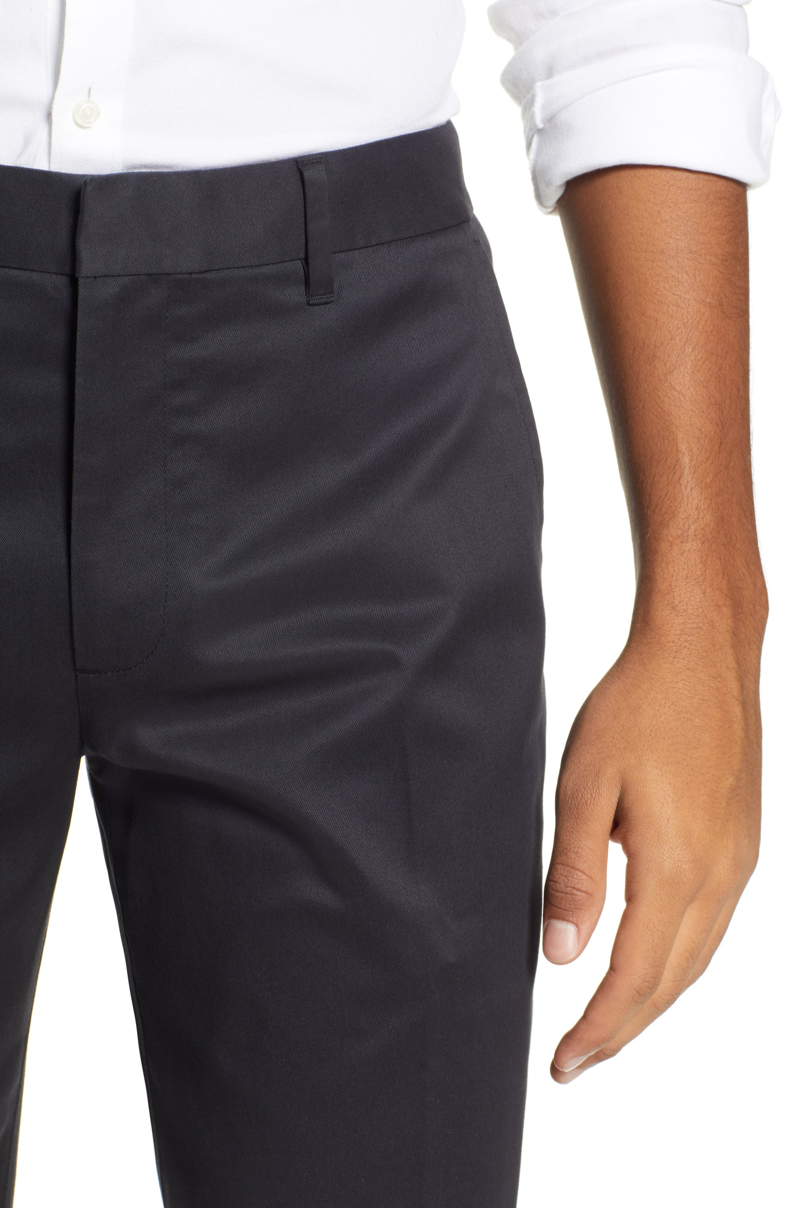 Weekday Warrior Straight Leg Stretch Dress Pants,                             Alternate thumbnail 4, color,                             BLACKS